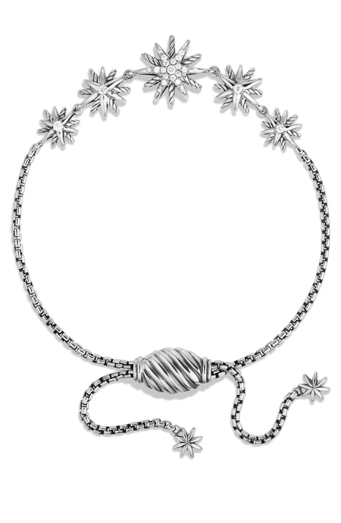 DAVID YURMAN, 'Starburst' Five-Station Bracelet with Diamonds, Alternate thumbnail 3, color, DIAMOND