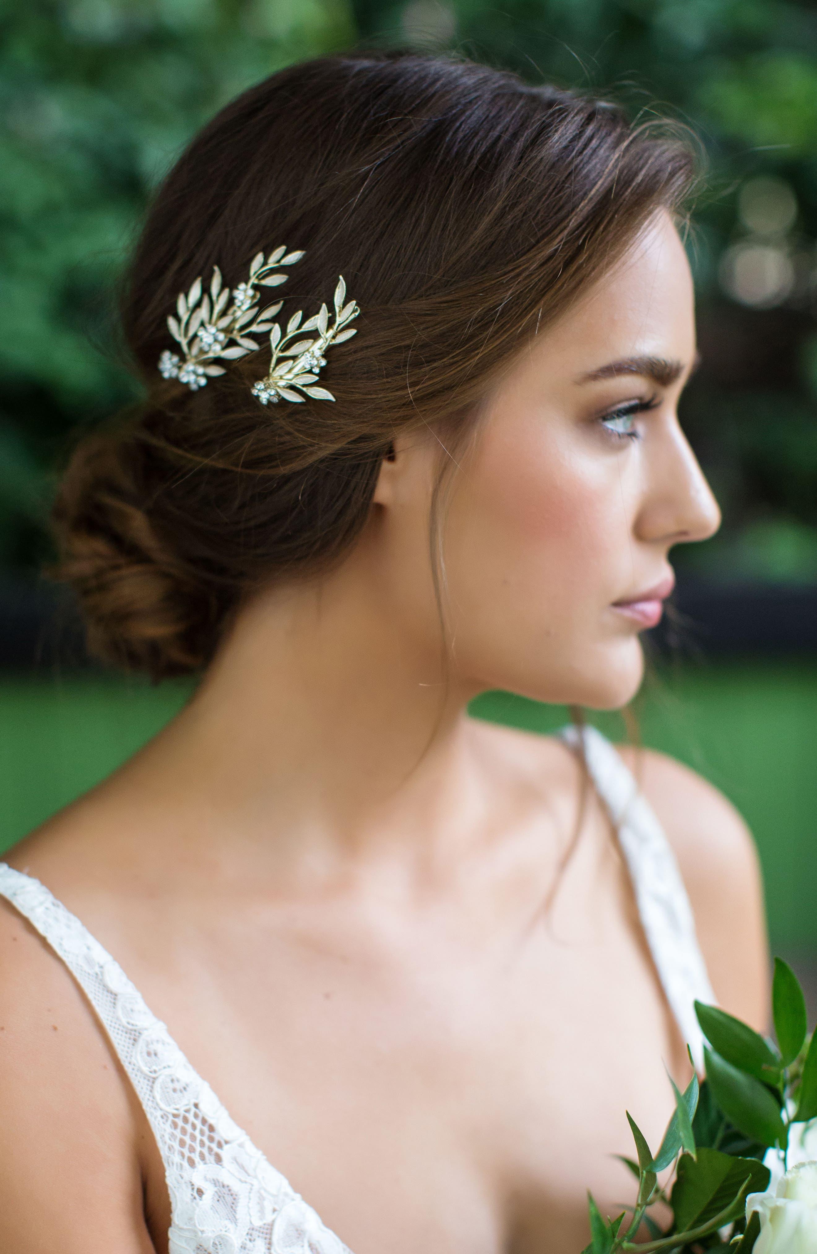 BRIDES & HAIRPINS, Calvina 2-Piece Hair Clip Set, Alternate thumbnail 3, color, GOLD