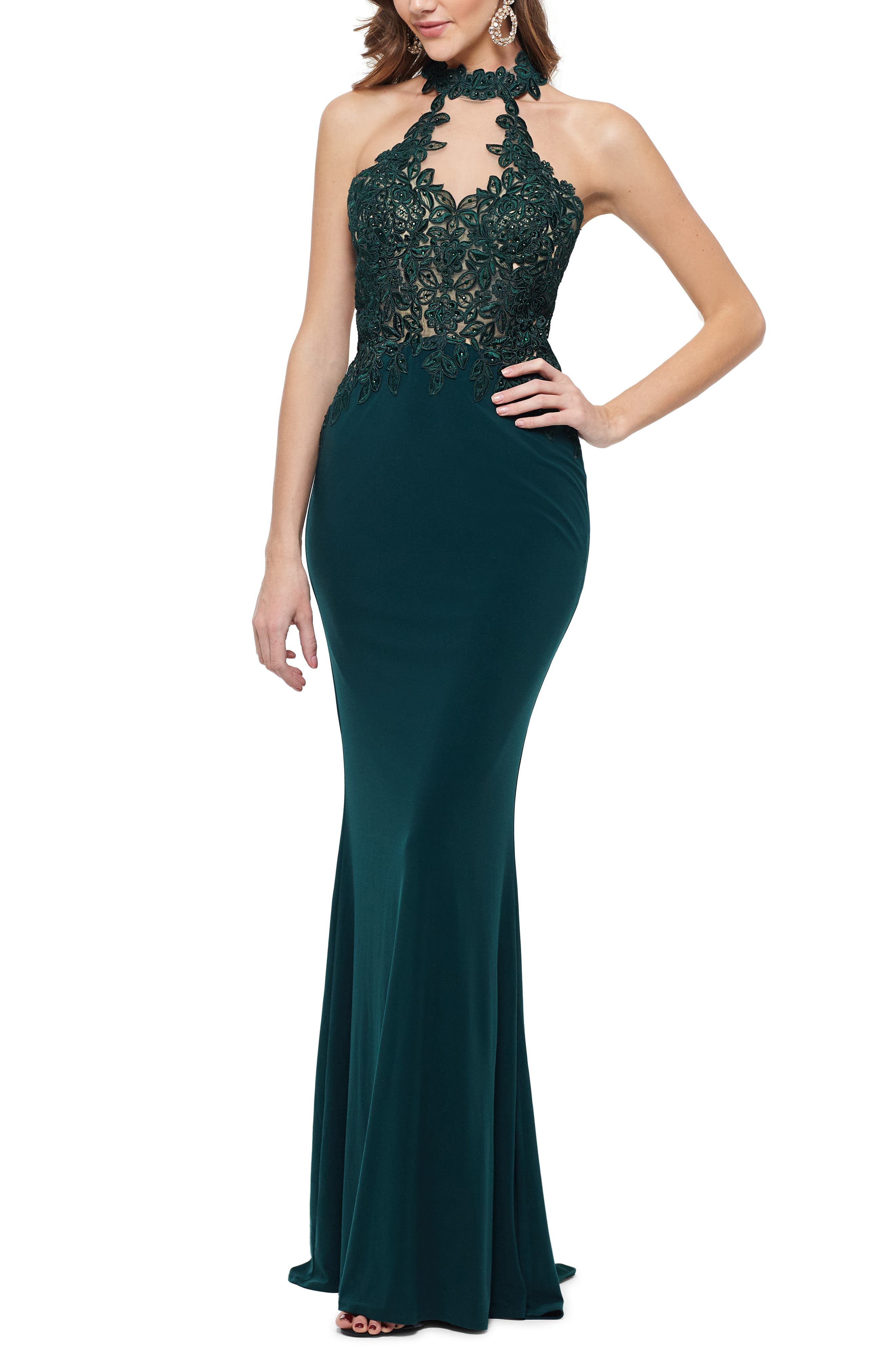 Xscape Embroidered High Neck Illusion Maxi Dress, Green