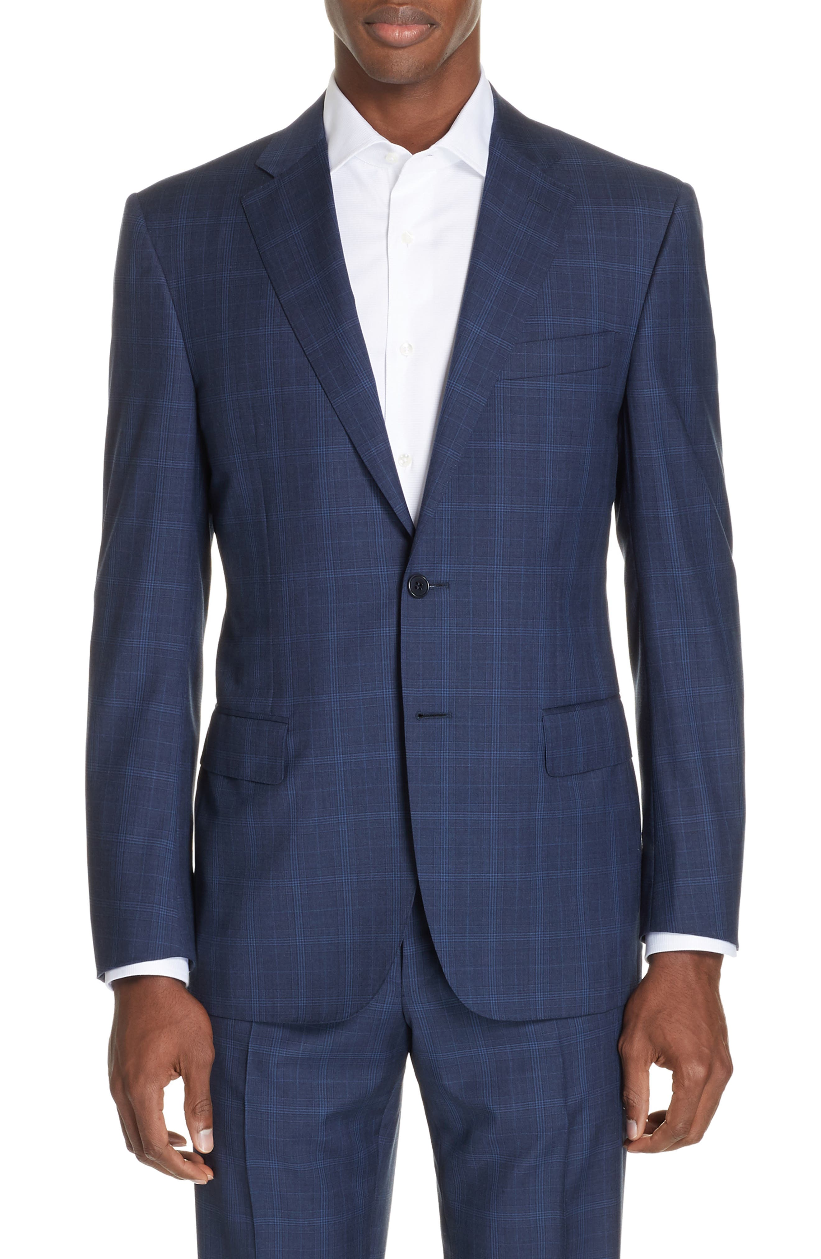 CANALI, Sienna Classic Fit Plaid Wool Suit, Alternate thumbnail 5, color, NAVY