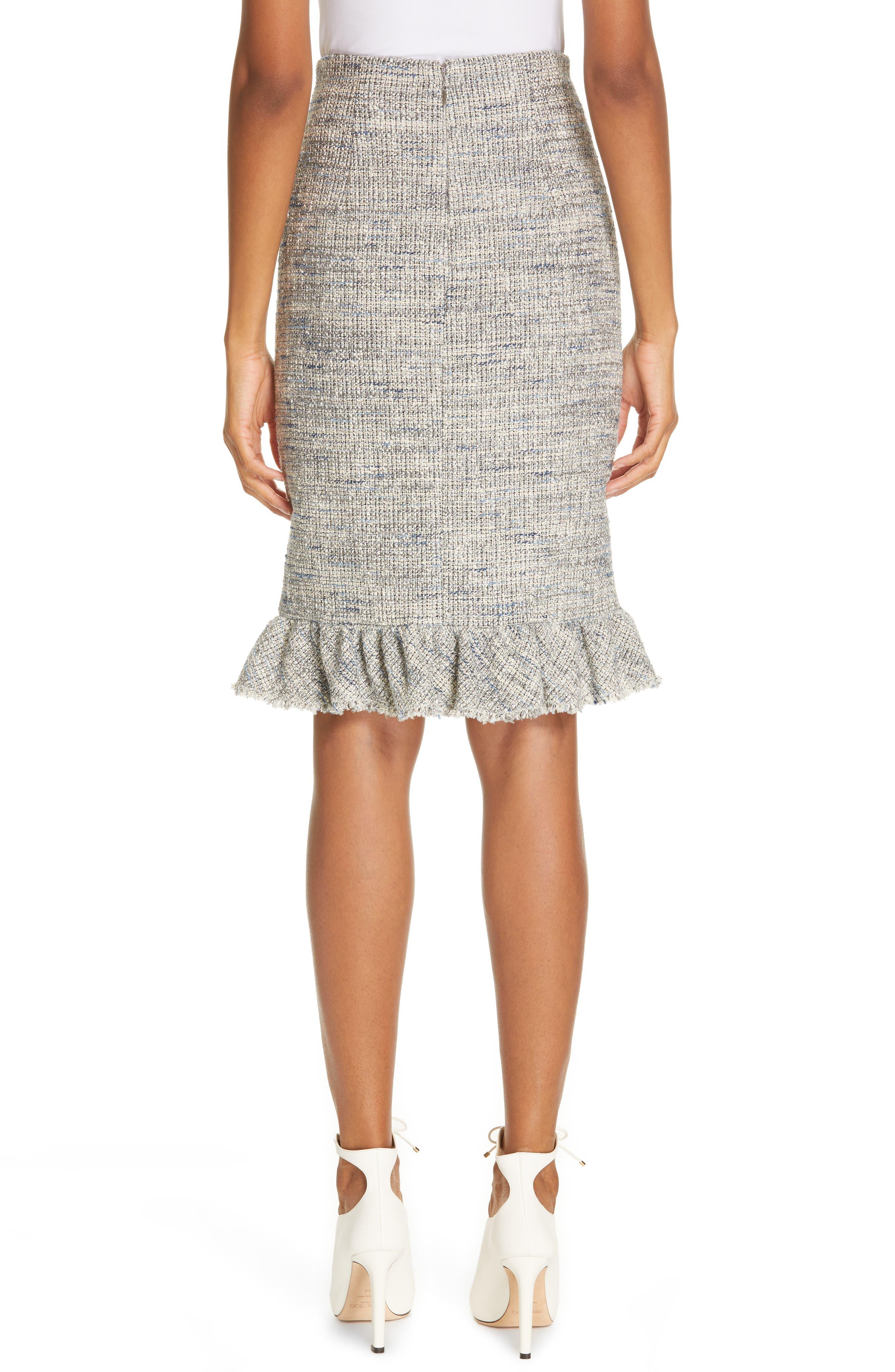 REBECCA TAYLOR, Tweed Ruffle Hem Skirt, Alternate thumbnail 2, color, 020