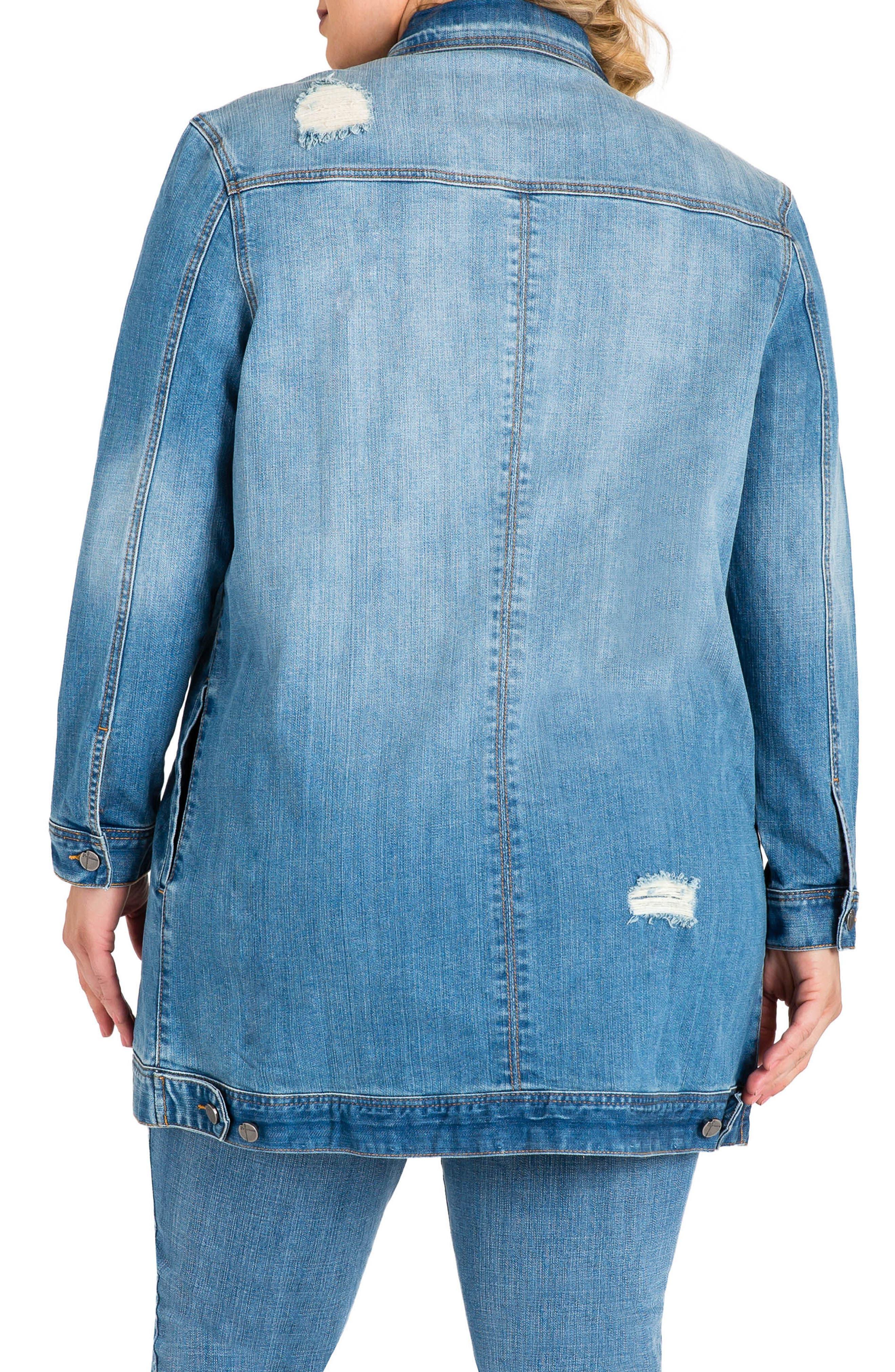 STANDARDS & PRACTICES, Margot Longline Denim Jacket, Alternate thumbnail 2, color, LIGHT BLUE