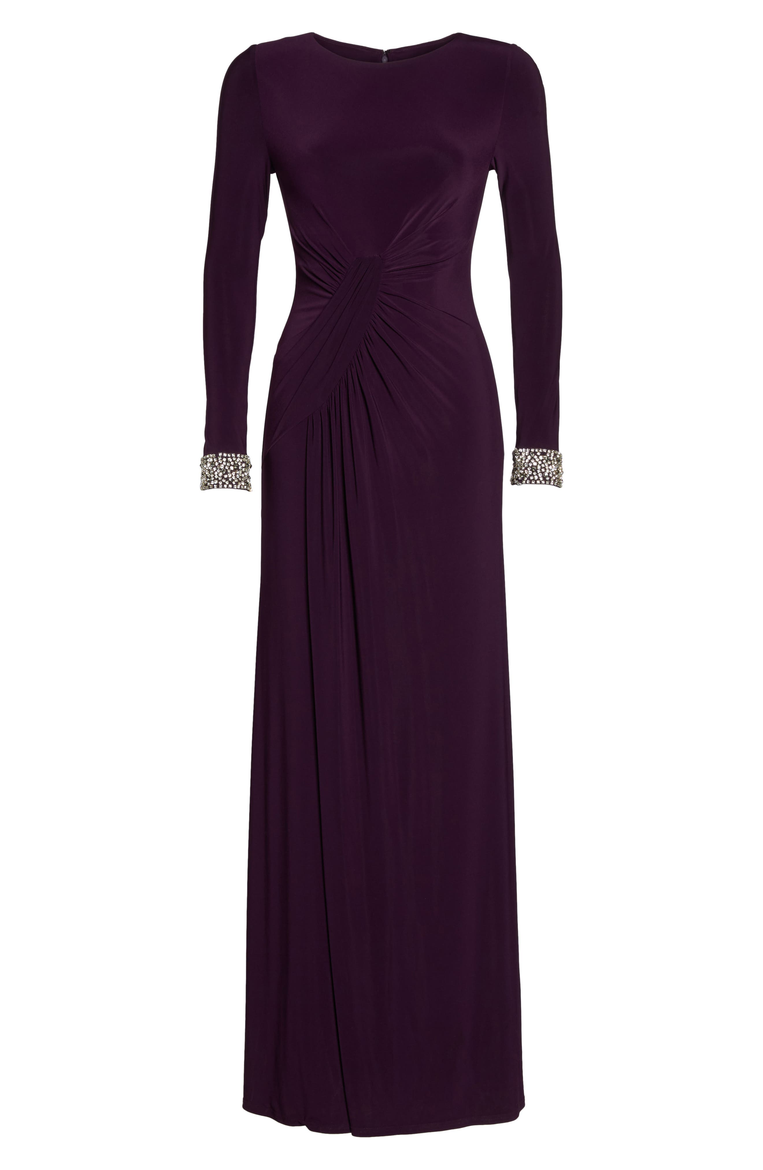 VINCE CAMUTO, Beaded Cuff Ruched Jersey Gown, Alternate thumbnail 6, color, 505