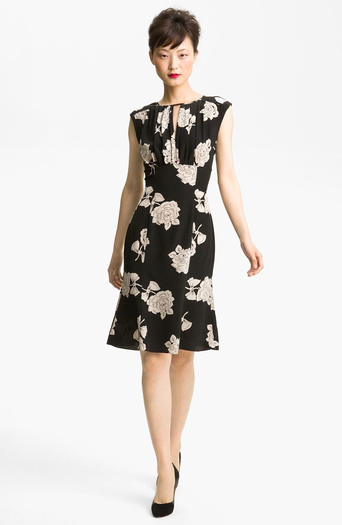 TRACY REESE, Rose Print Silk Dress, Main thumbnail 1, color, 001