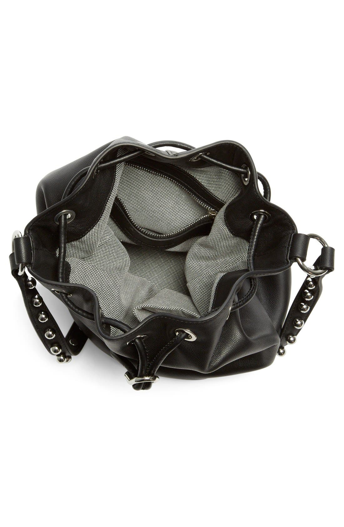 ALEXANDER WANG, 'Alfa' Studded Leather Bucket Bag, Alternate thumbnail 6, color, 001