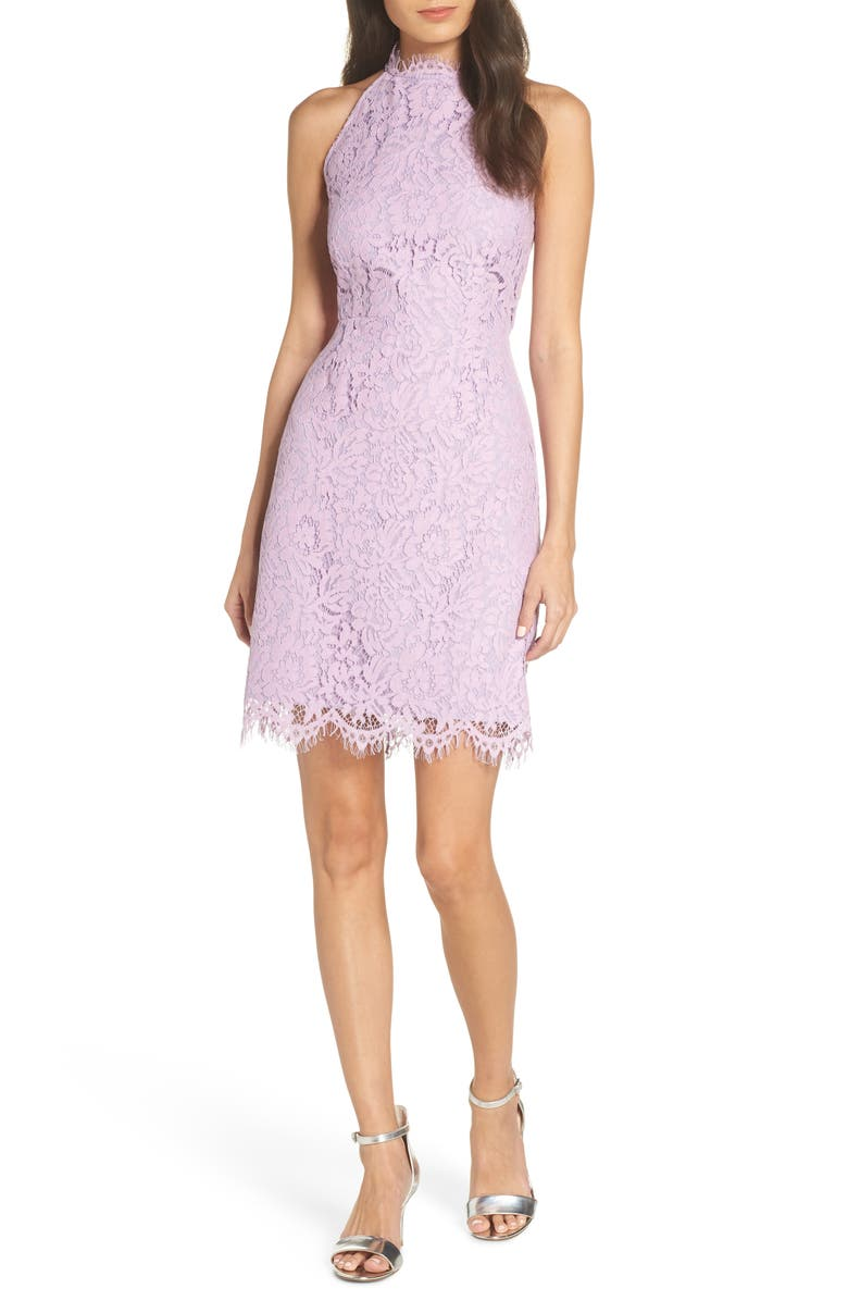BB DAKOTA Cara High Neck Lace Cocktail Dress, Main, color, LAVENDER