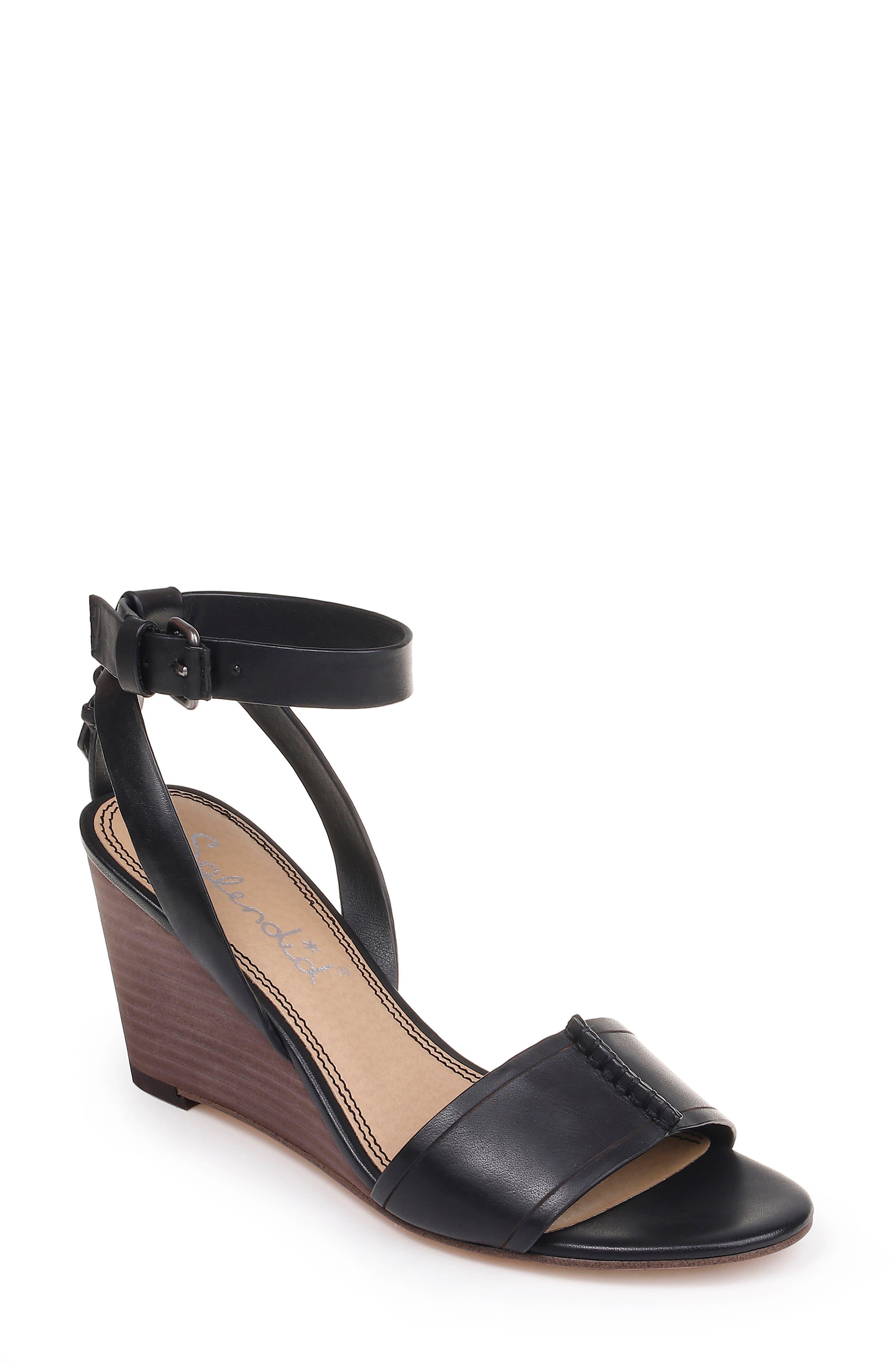 SPLENDID, Tadeo Wedge Ankle Strap Sandal, Main thumbnail 1, color, BLACK LEATHER