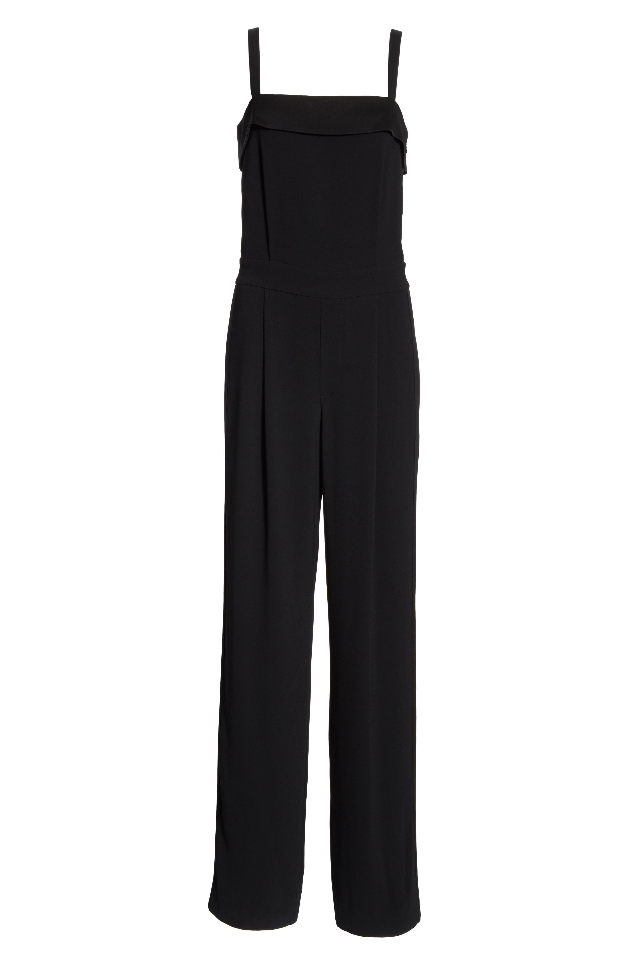 VINCE, Sleeveless Tuxedo Jumpsuit, Alternate thumbnail 7, color, BLACK