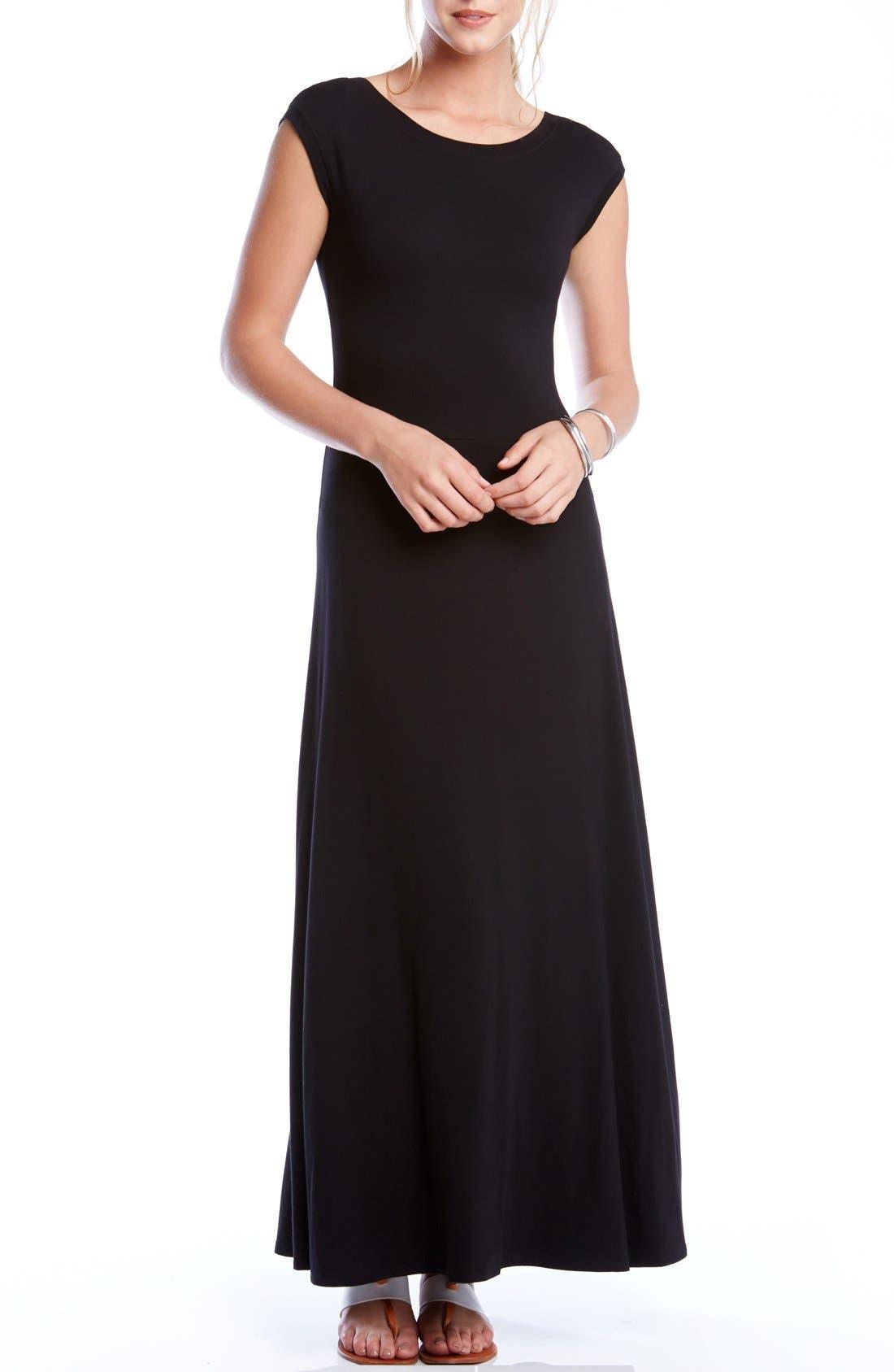 KAREN KANE, V-Back A-Line Maxi Dress, Main thumbnail 1, color, BLACK