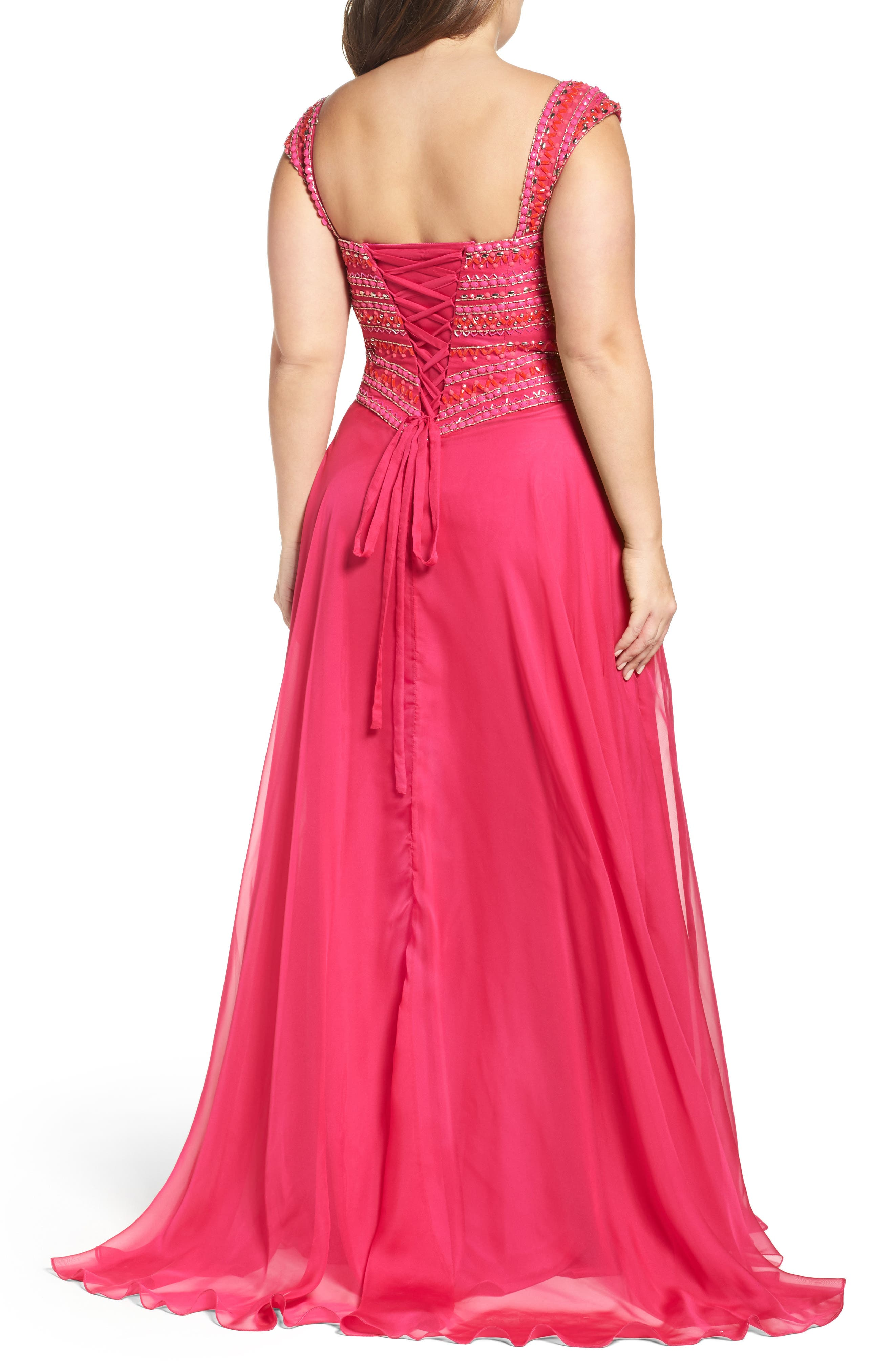 MAC DUGGAL, Embellished Gown, Alternate thumbnail 2, color, LIPSTICK