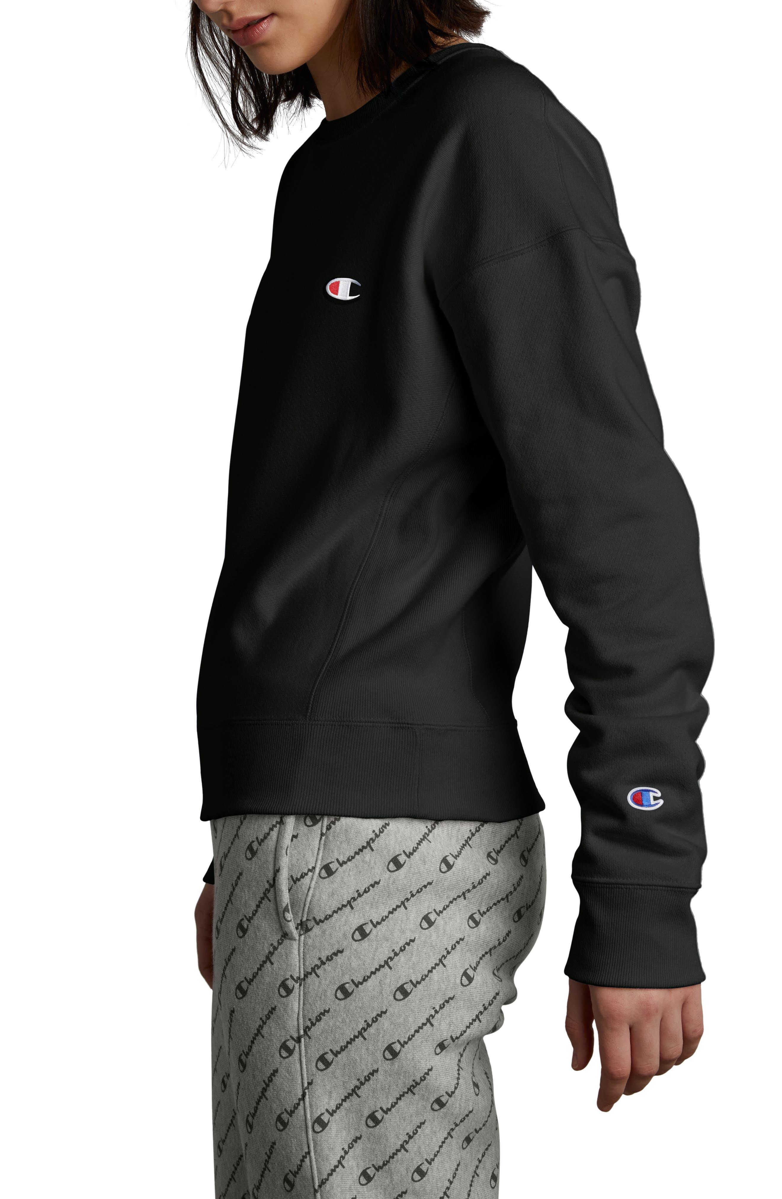 CHAMPION, Reverse Weave Sweatshirt, Alternate thumbnail 4, color, BLACK
