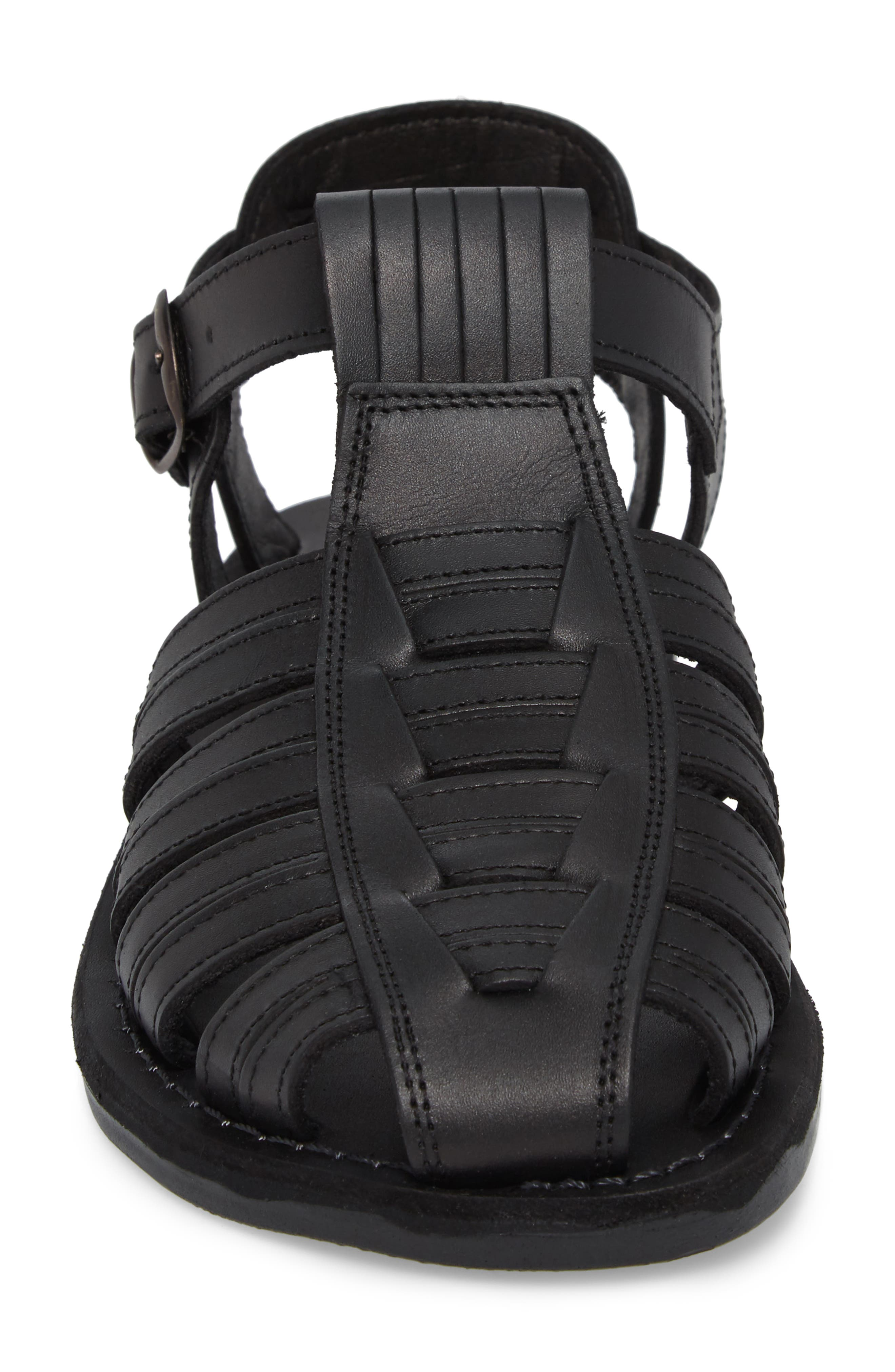 JERUSALEM SANDALS, Barak Fisherman Sandal, Alternate thumbnail 4, color, BLACK LEATHER
