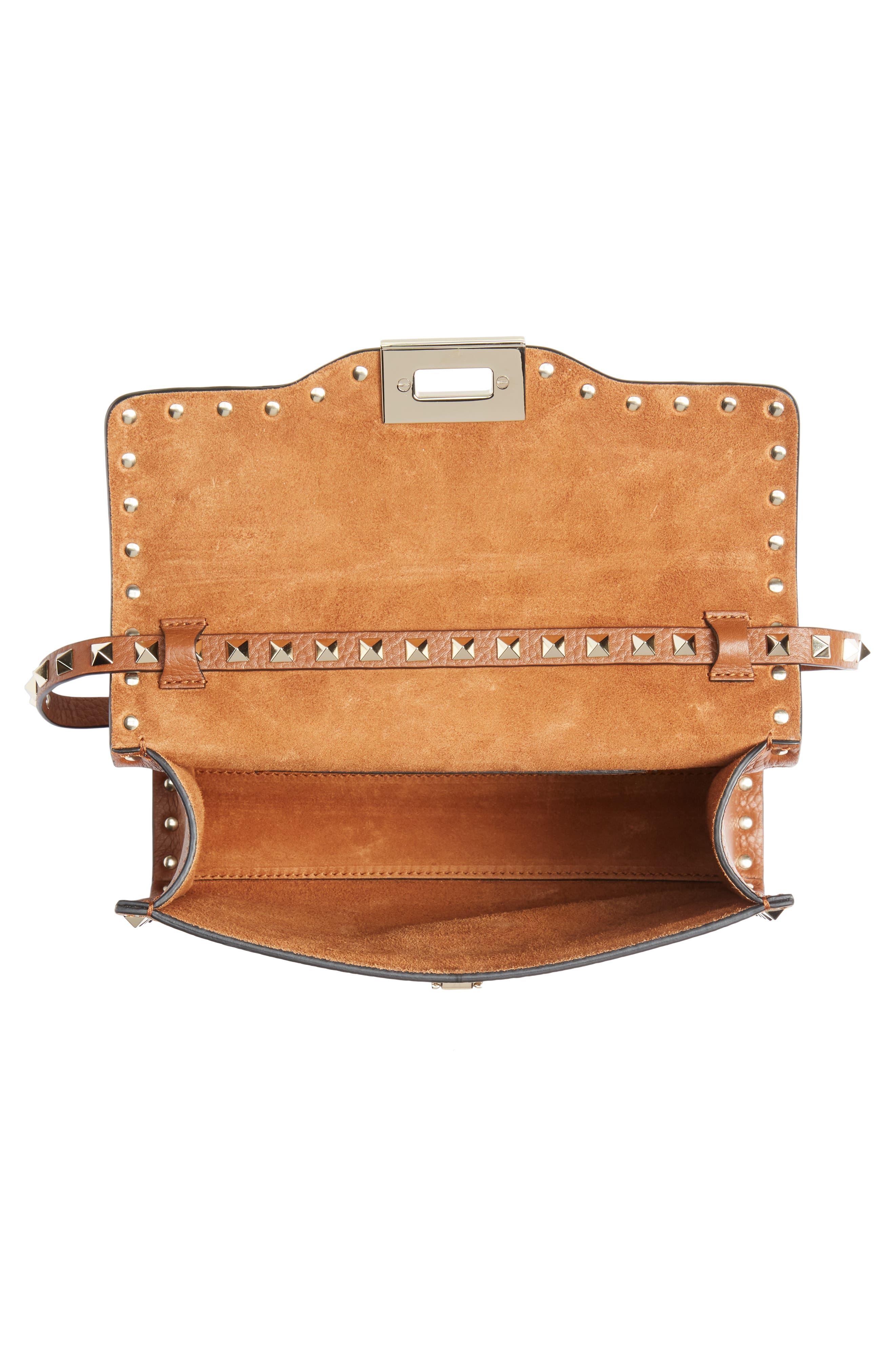 VALENTINO GARAVANI, Medium Rockstud Leather Crossbody Bag, Alternate thumbnail 4, color, BRIGHT COGNAC