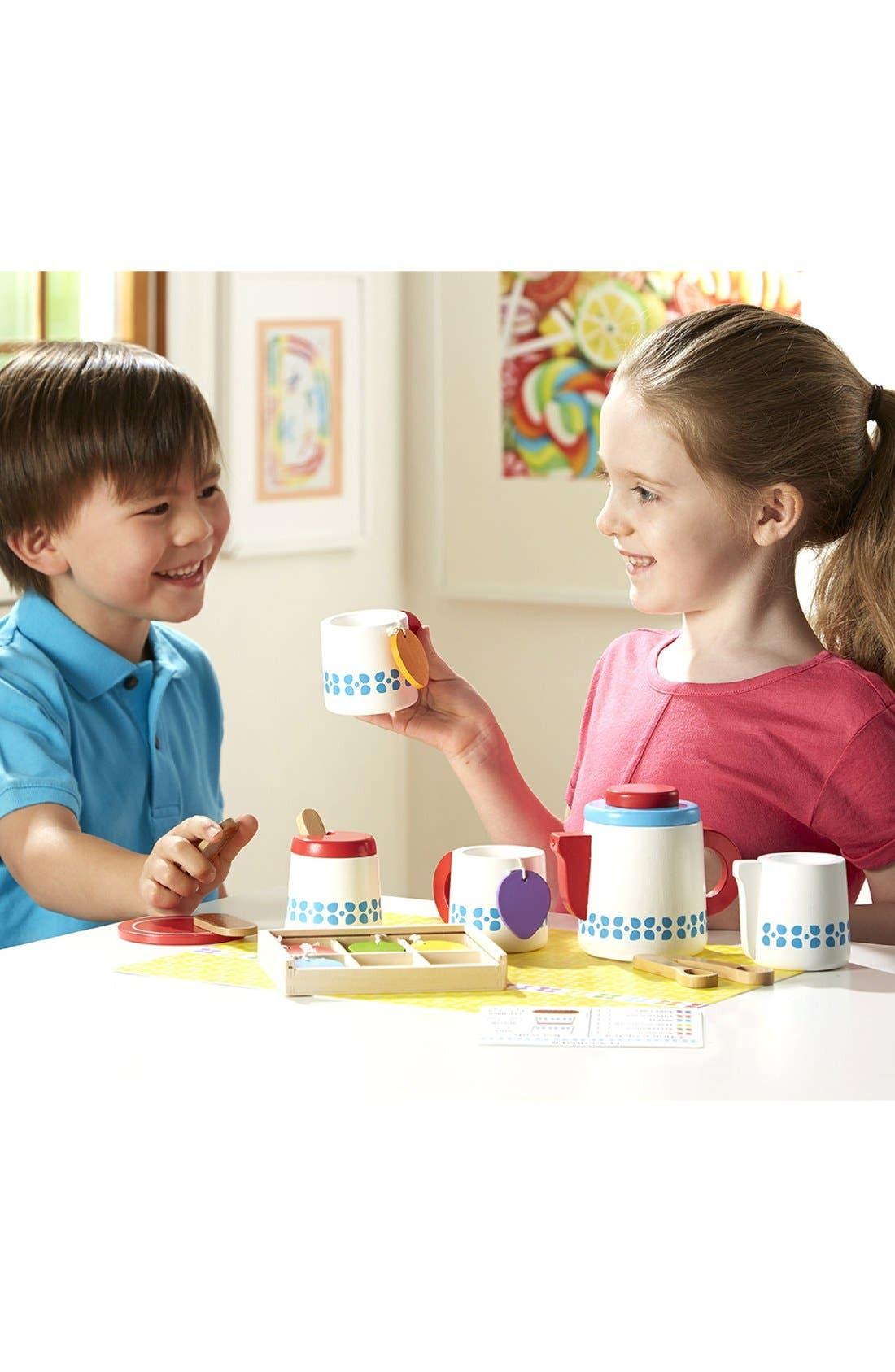 MELISSA & DOUG, 'Steep & Serve' Wooden Tea Set, Alternate thumbnail 4, color, MULTI
