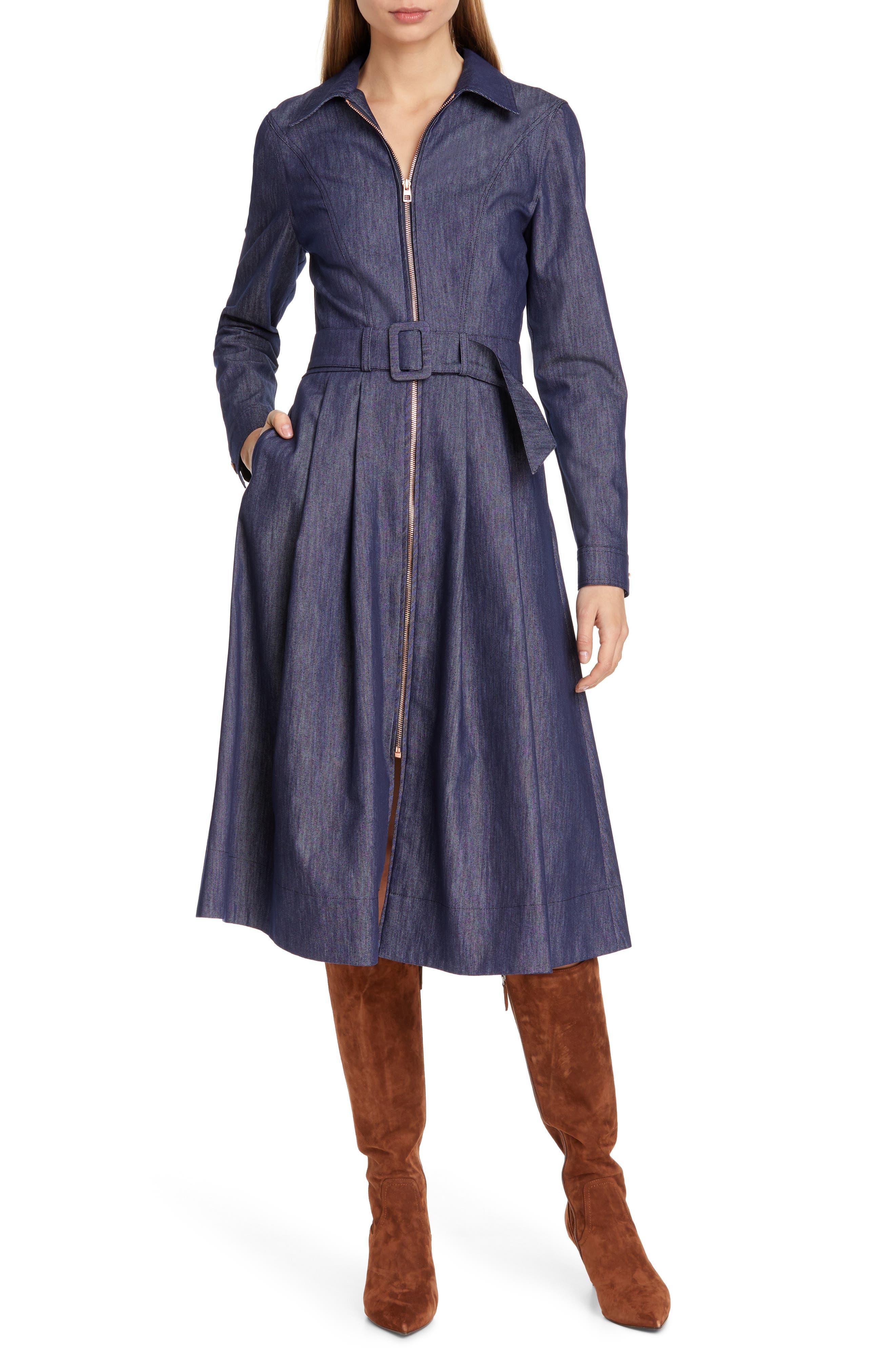 TOMMY X ZENDAYA Belted Denim Dress, Main, color, DENIM BLUE