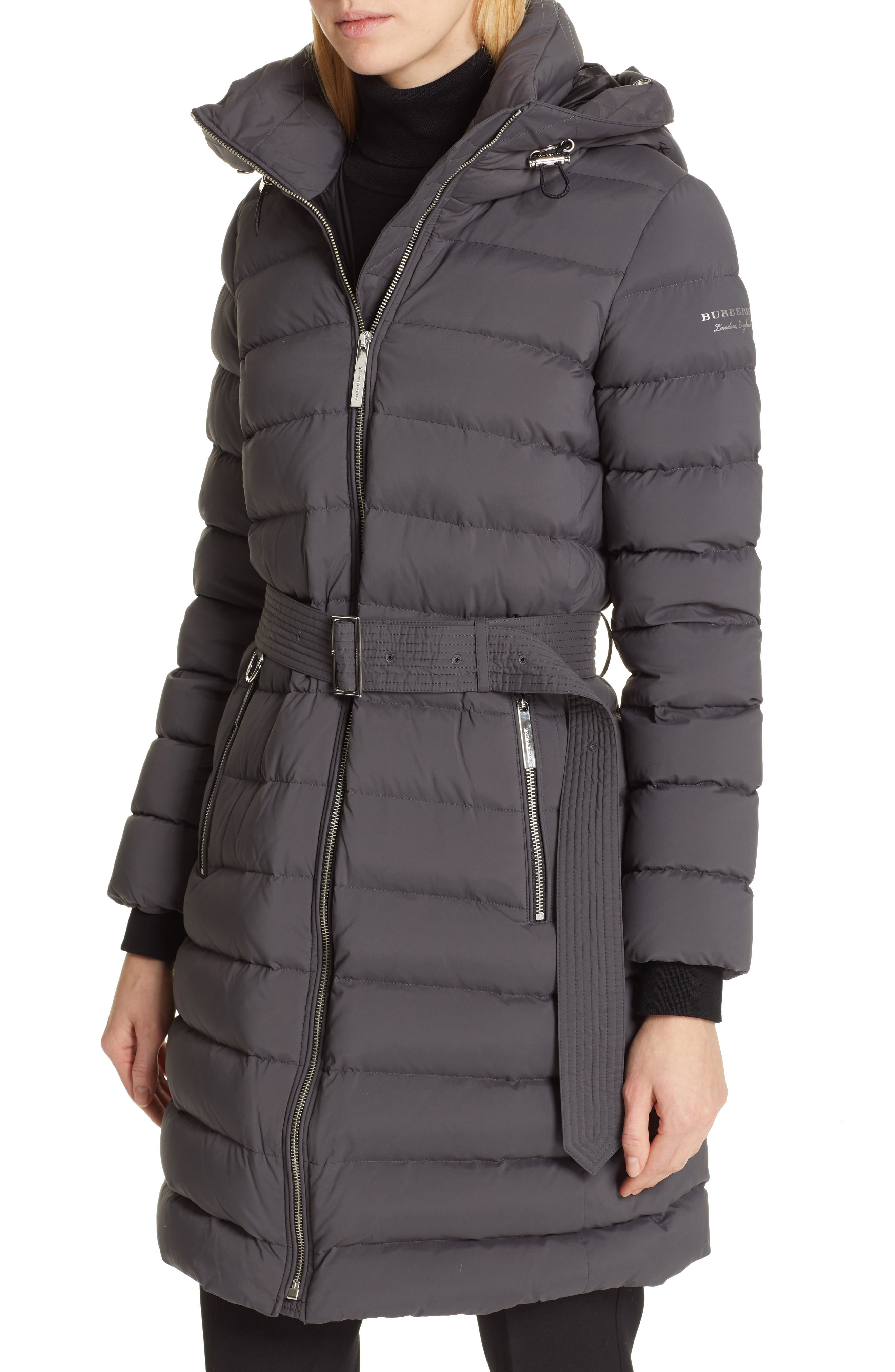 BURBERRY, Limehouse Quilted Down Puffer Coat with Removable Genuine Shearling Trim, Alternate thumbnail 2, color, MID GREY