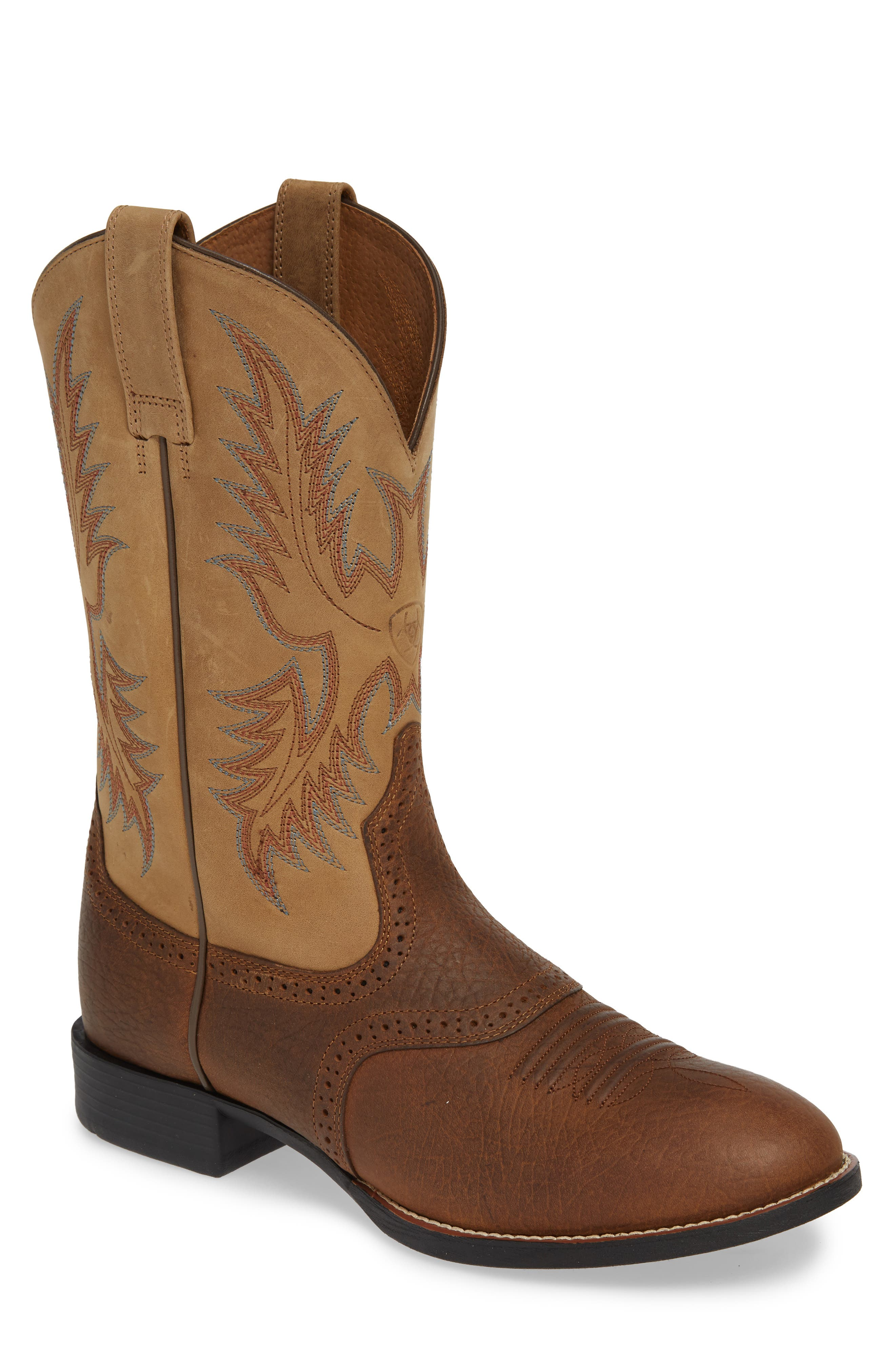 ARIAT Heritage Stockman Cowboy Boot, Main, color, BROWN/ BEIGE LEATHER