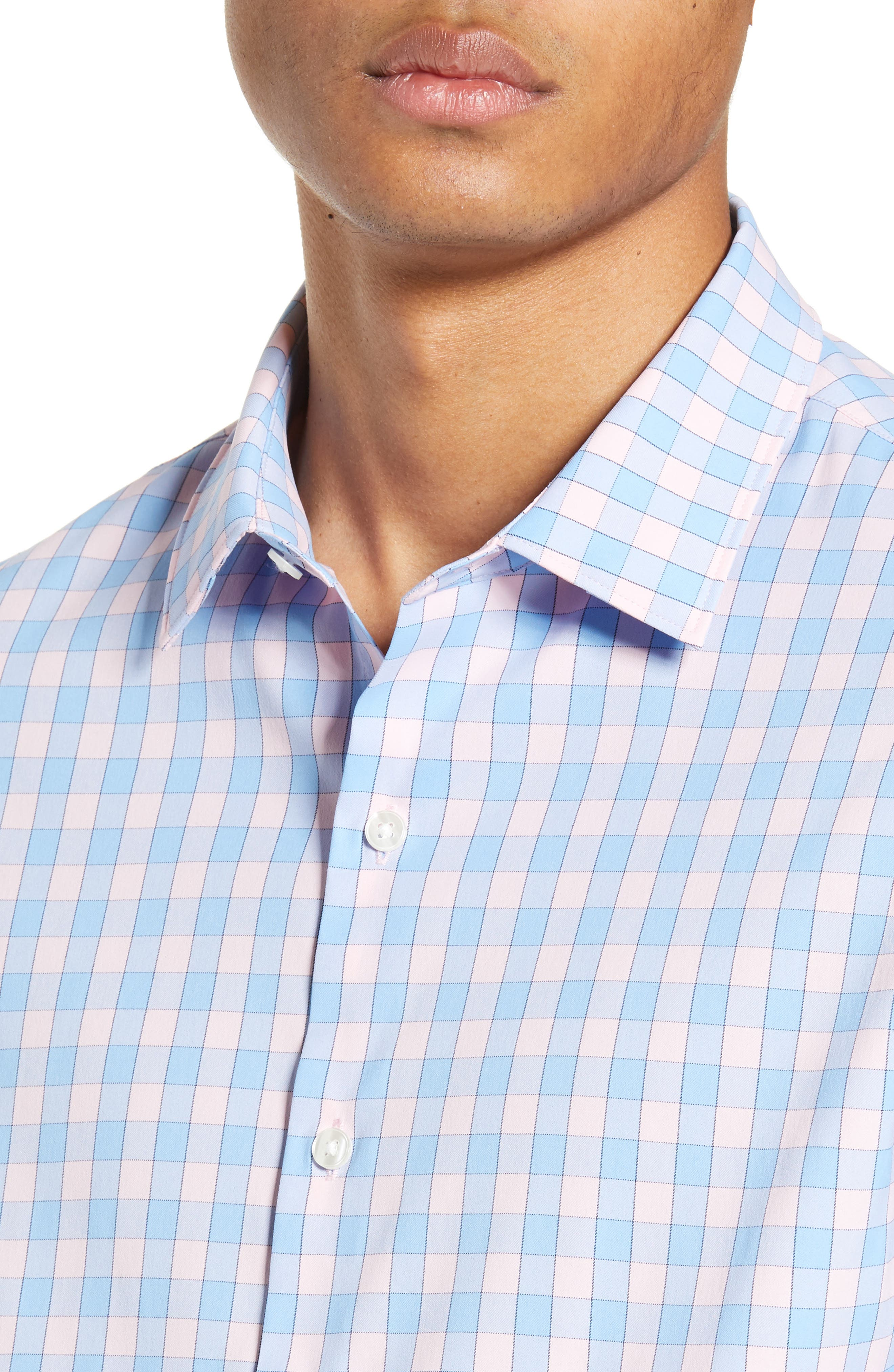 BONOBOS, Slim Fit Check Tech Sport Shirt, Alternate thumbnail 2, color, SAIL BOAT FIRST BLUSH