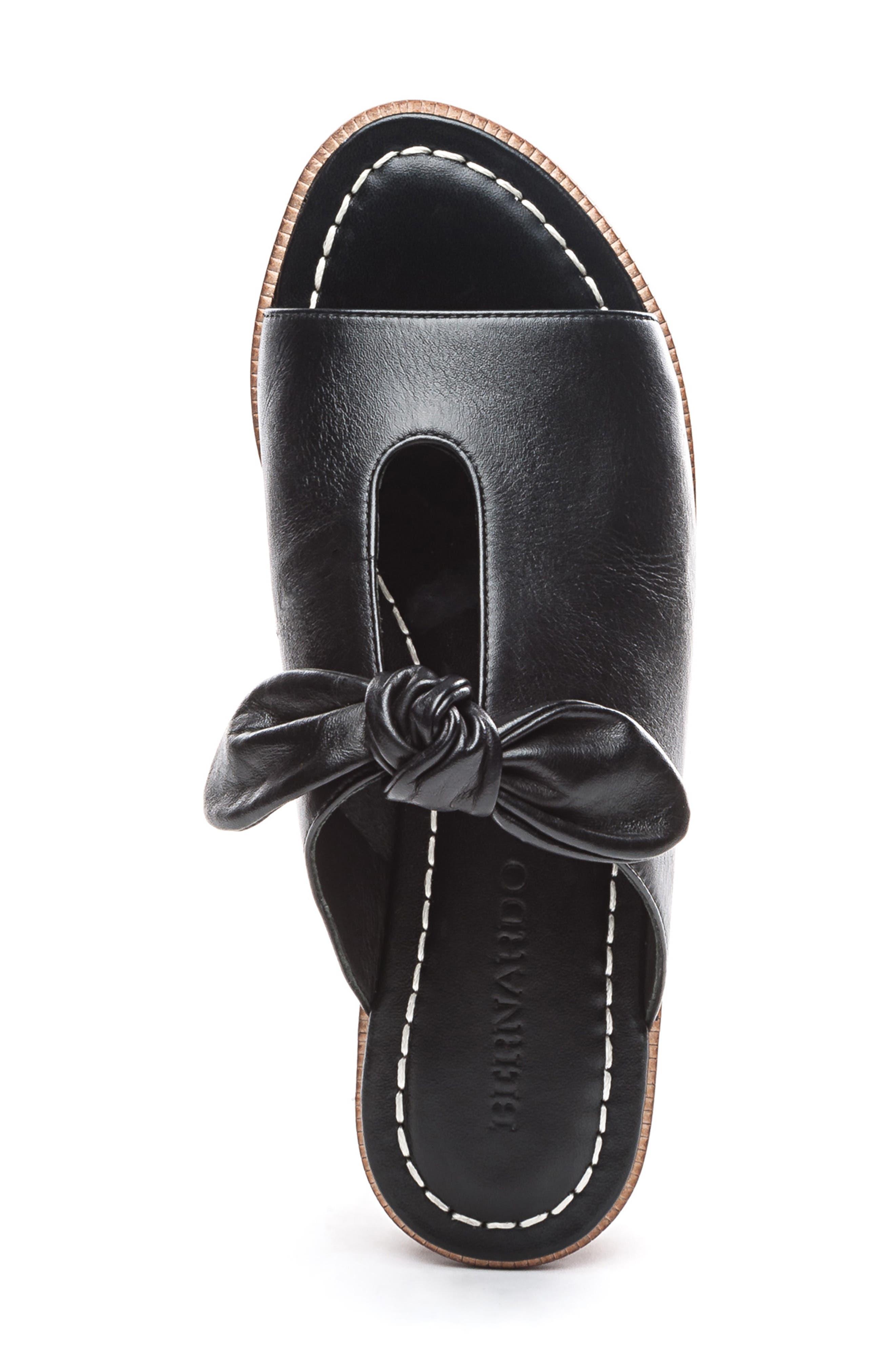 BERNARDO, Alice Bow Slide Sandal, Alternate thumbnail 5, color, BLACK LEATHER