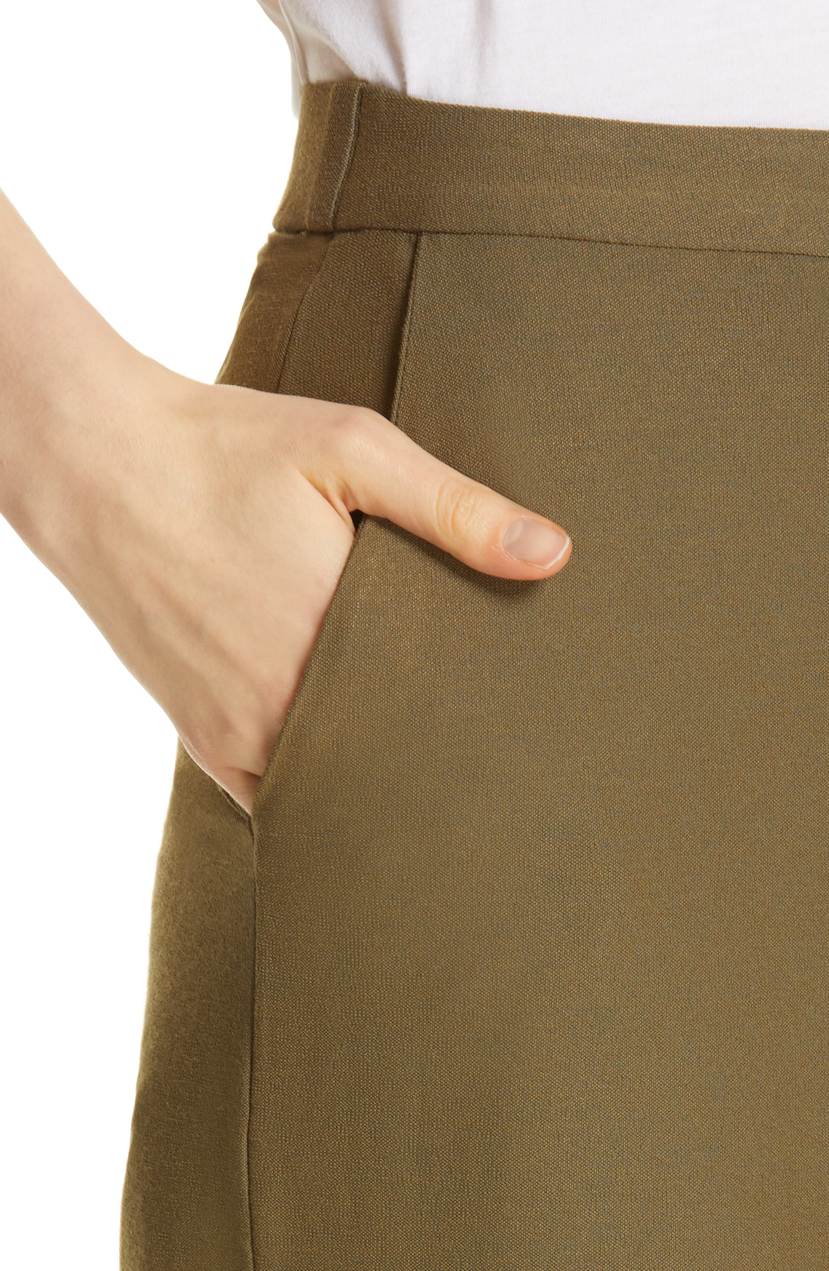 EILEEN FISHER, High Waist Ankle Pants, Alternate thumbnail 5, color, OLIVE