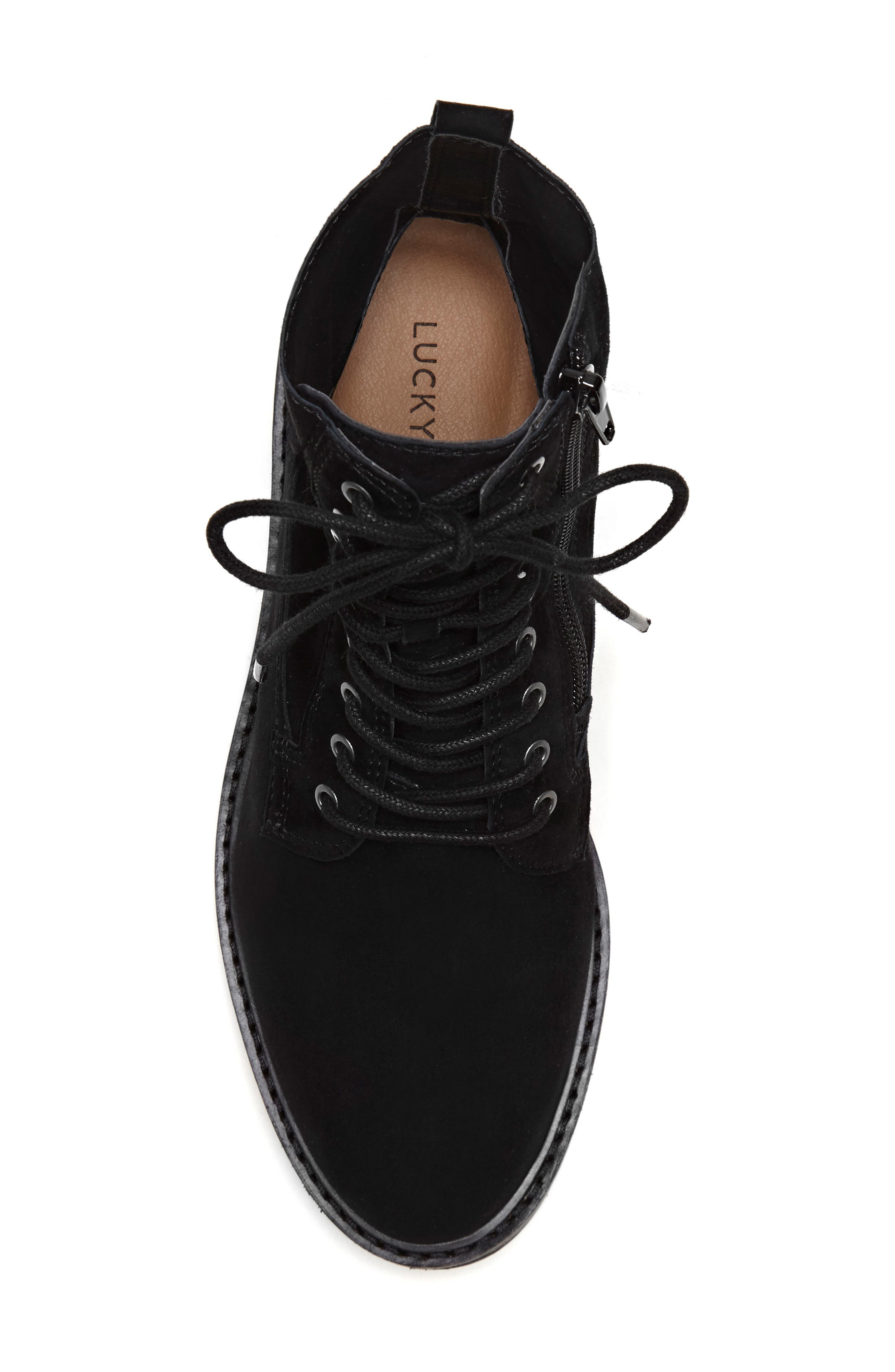 LUCKY BRAND, Idara Lace-Up Bootie, Alternate thumbnail 4, color, 001