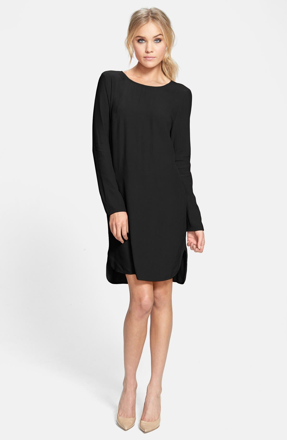 WAYF, Long Sleeve Crepe Shift Dress, Main thumbnail 1, color, 001