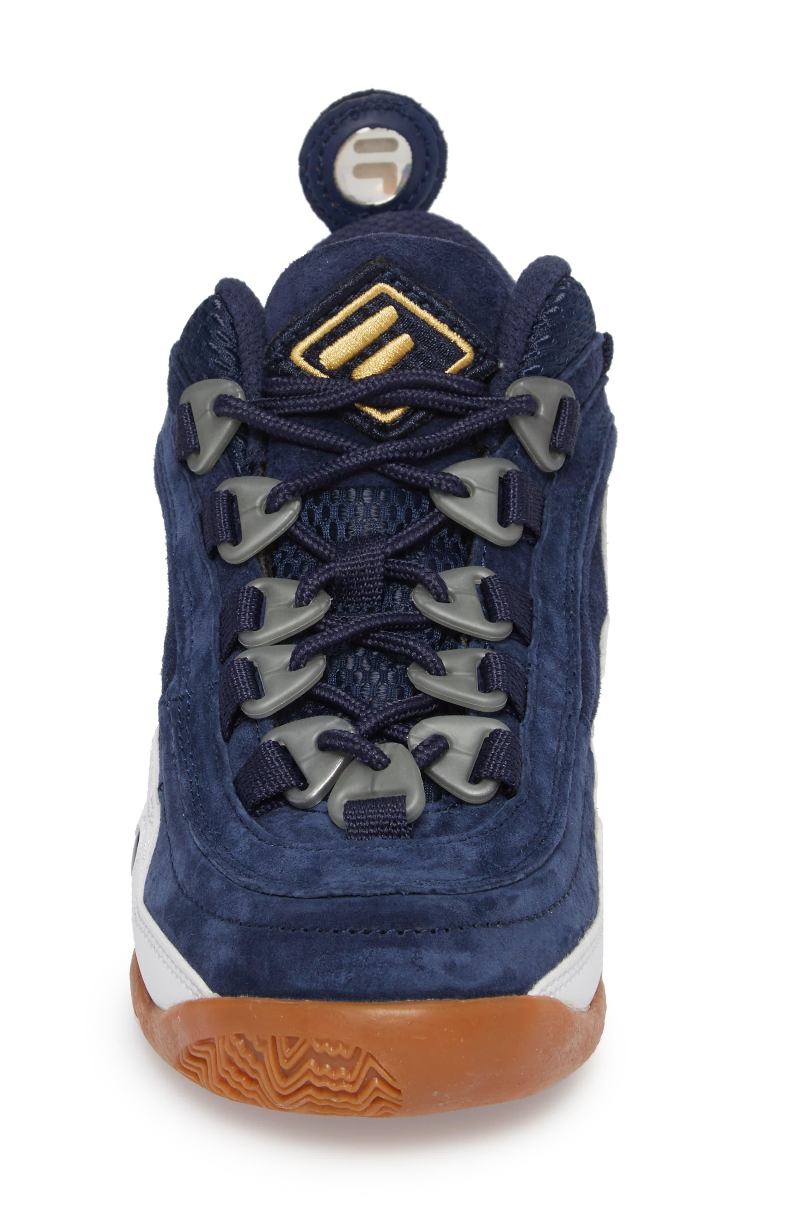 FILA, Bubbles Mid Top Sneaker Boot, Alternate thumbnail 4, color, NAVY/ GOLD/ WHITE