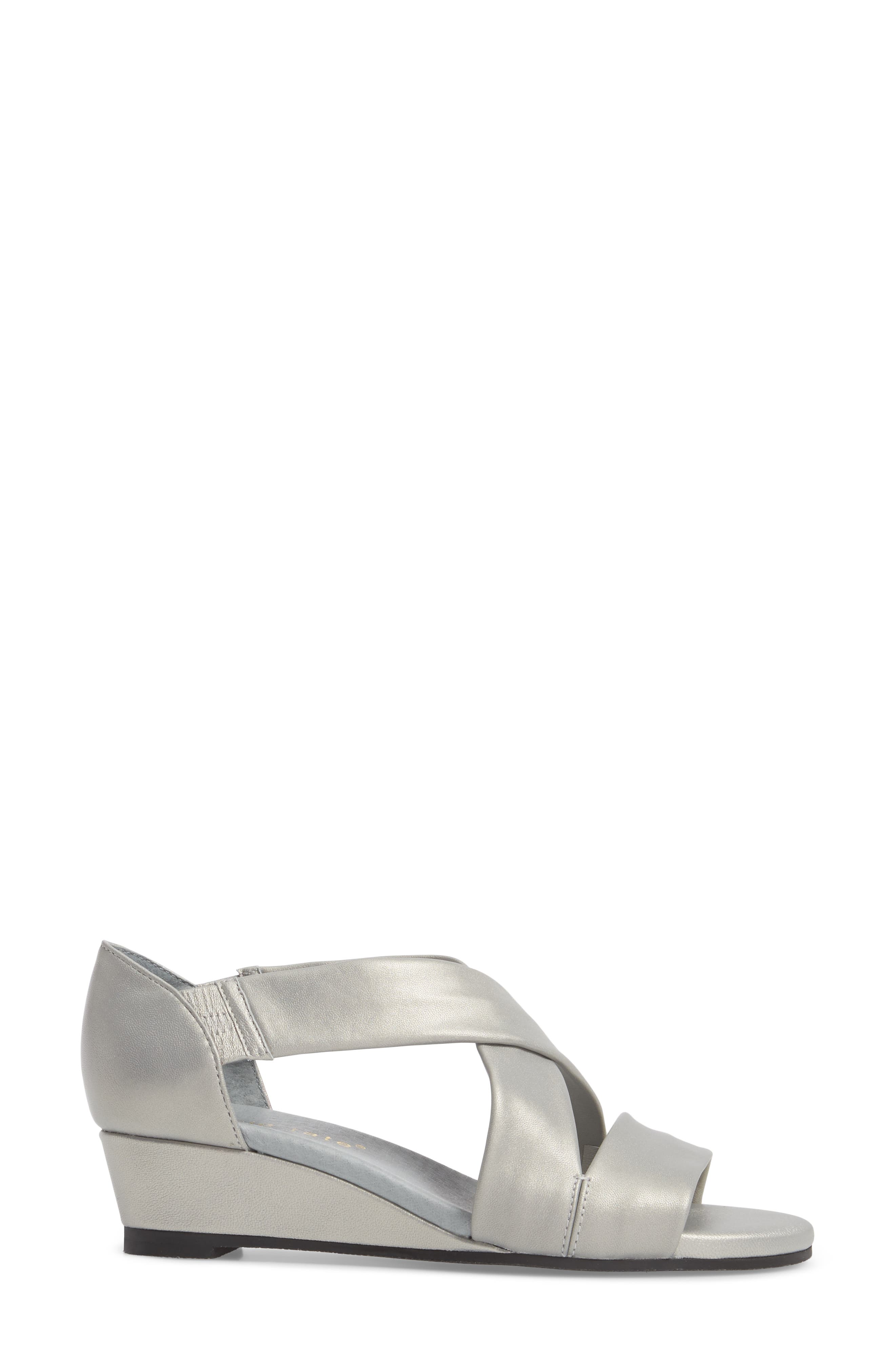 DAVID TATE, Swell Cross Strap Wedge Sandal, Alternate thumbnail 3, color, SILVER LEATHER