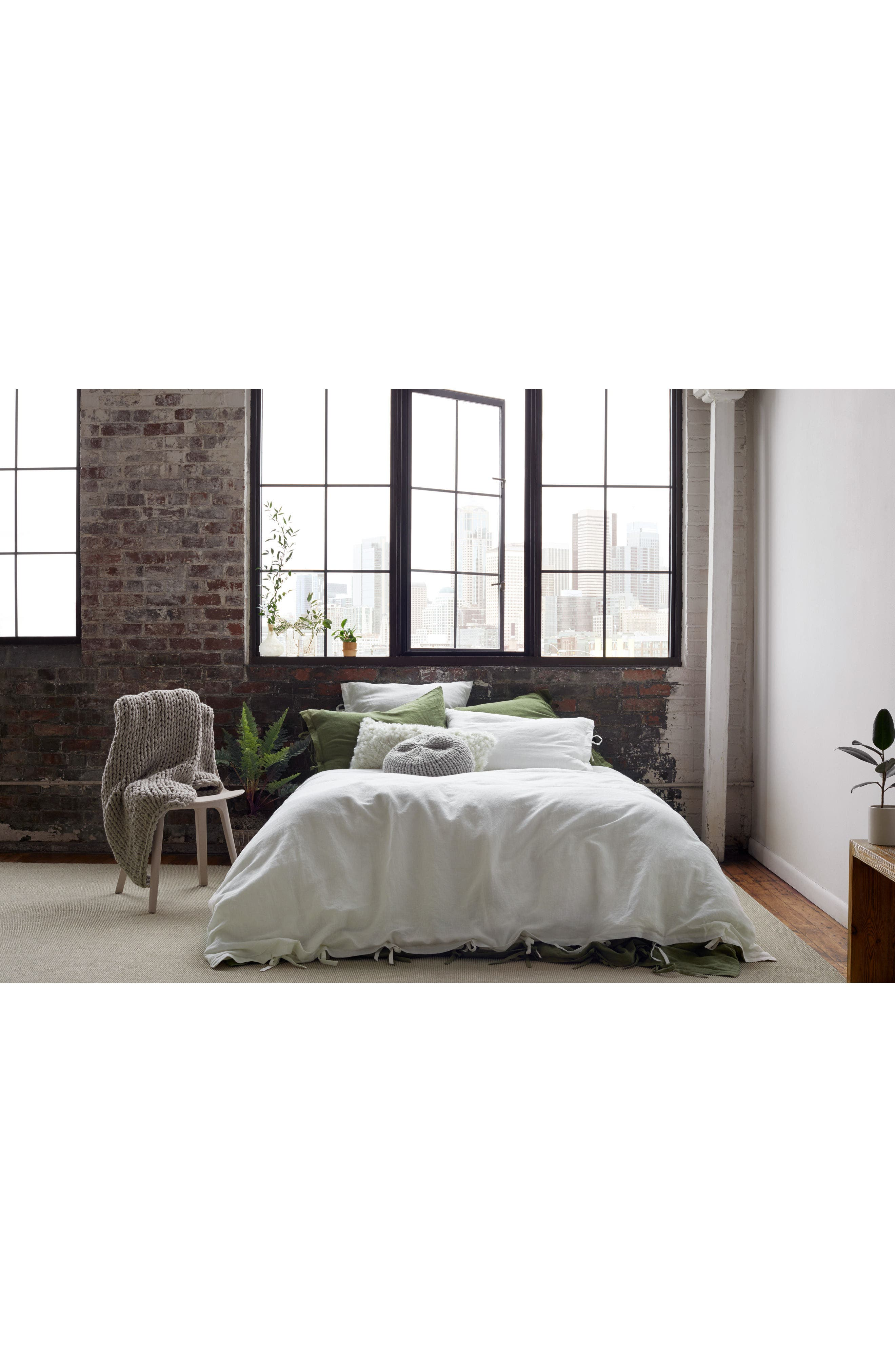 TREASURE & BOND, Relaxed Cotton & Linen Duvet Cover, Alternate thumbnail 7, color, GREY ONYX