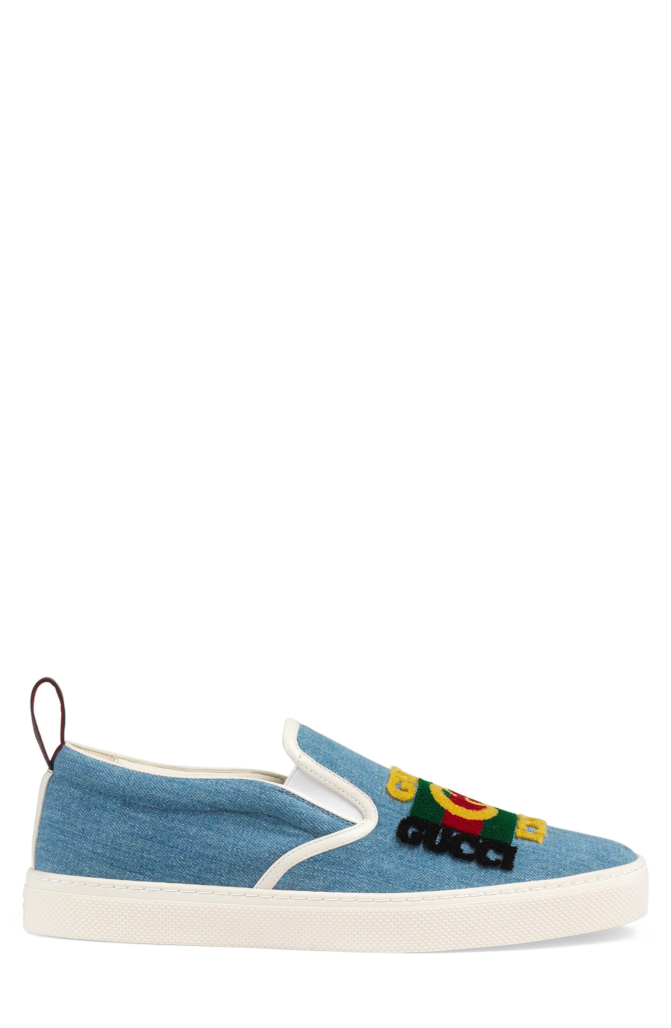 GUCCI, Dublin Slip-On Sneaker, Alternate thumbnail 2, color, BLUE/ BLACK
