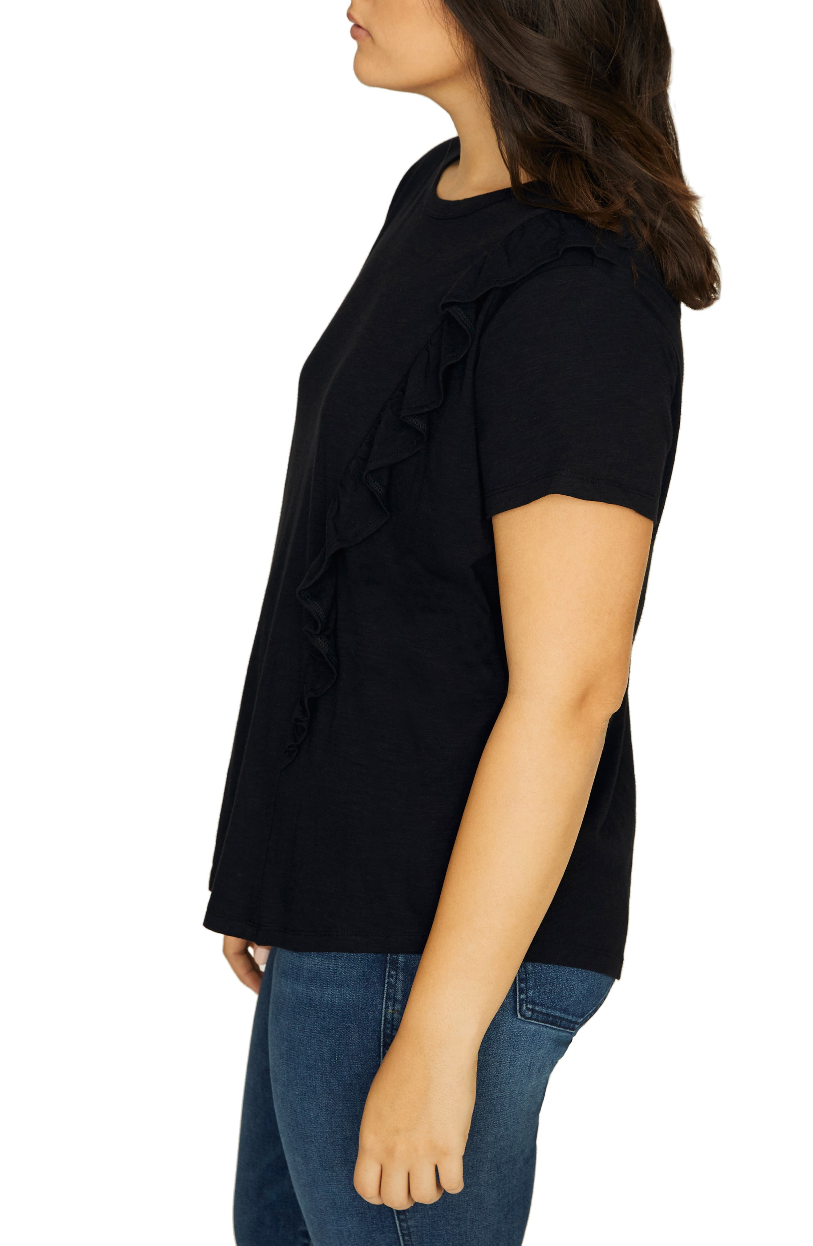 SANCTUARY, Gia Ruffle Trim Tee, Alternate thumbnail 3, color, BLACK