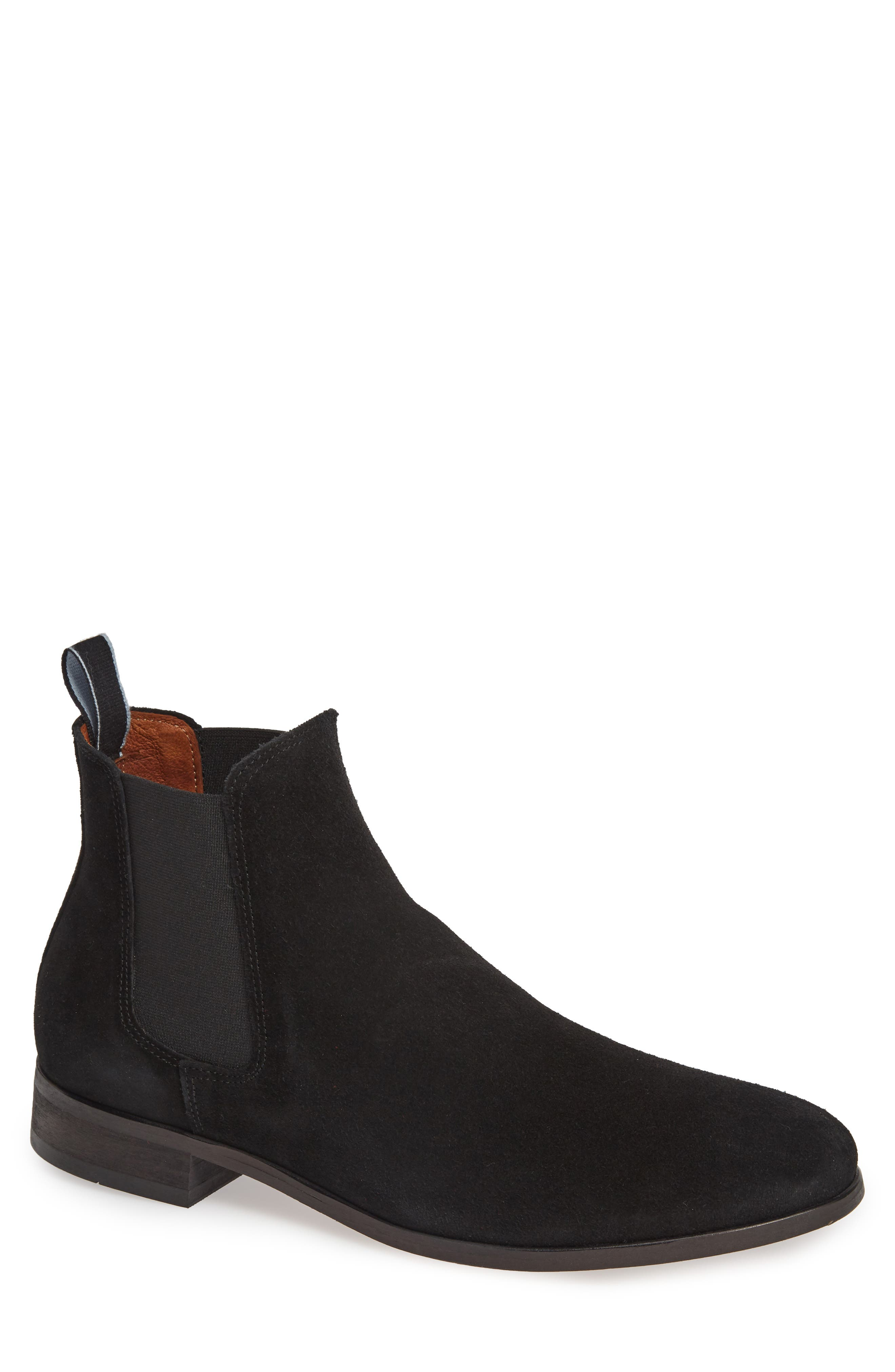 SHOE THE BEAR Dev Chelsea Boot, Main, color, BLACK SUEDE