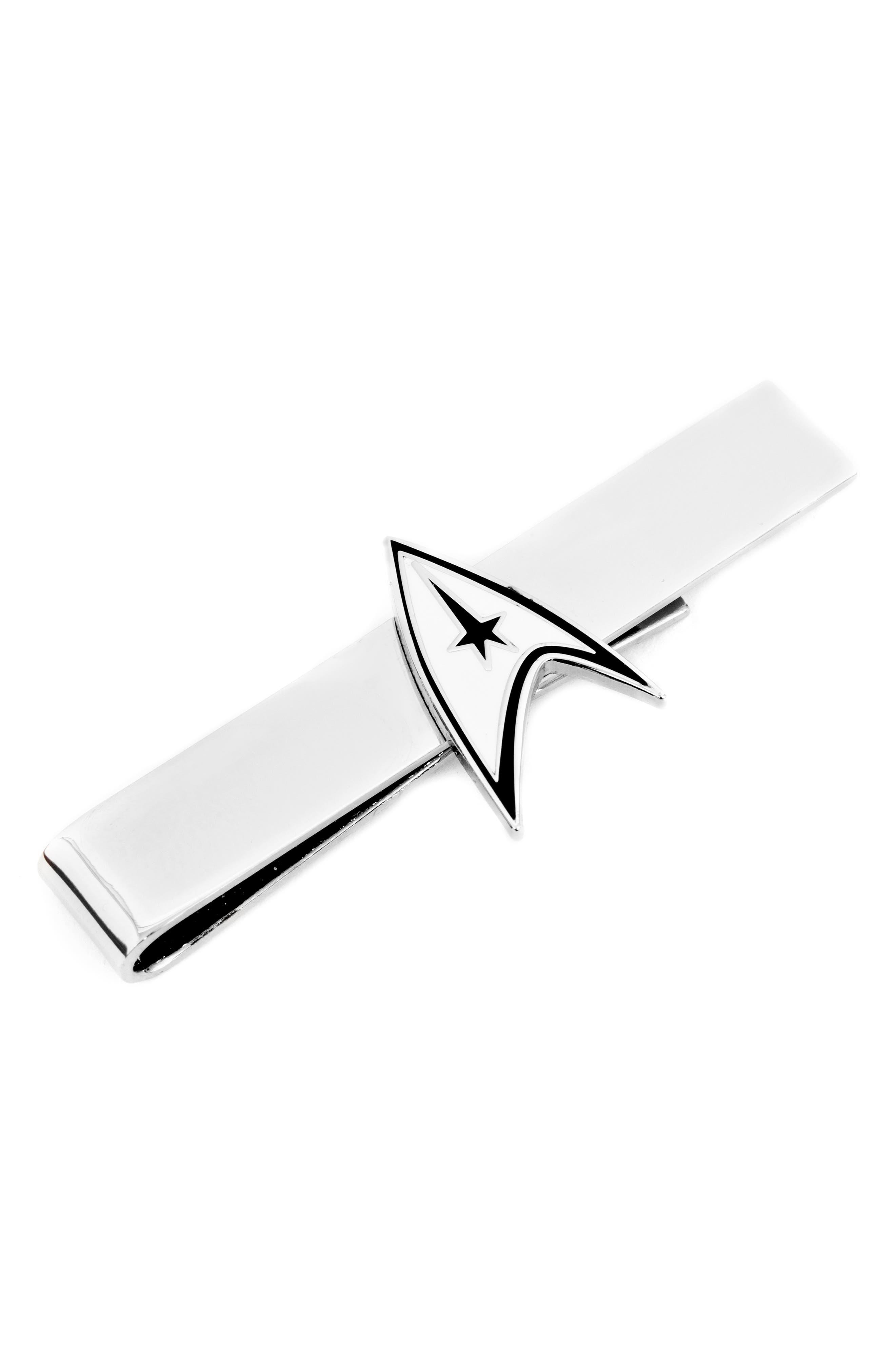 CUFFLINKS, INC., 'Star Trek' Delta Shield Tie Bar, Main thumbnail 1, color, SILVER