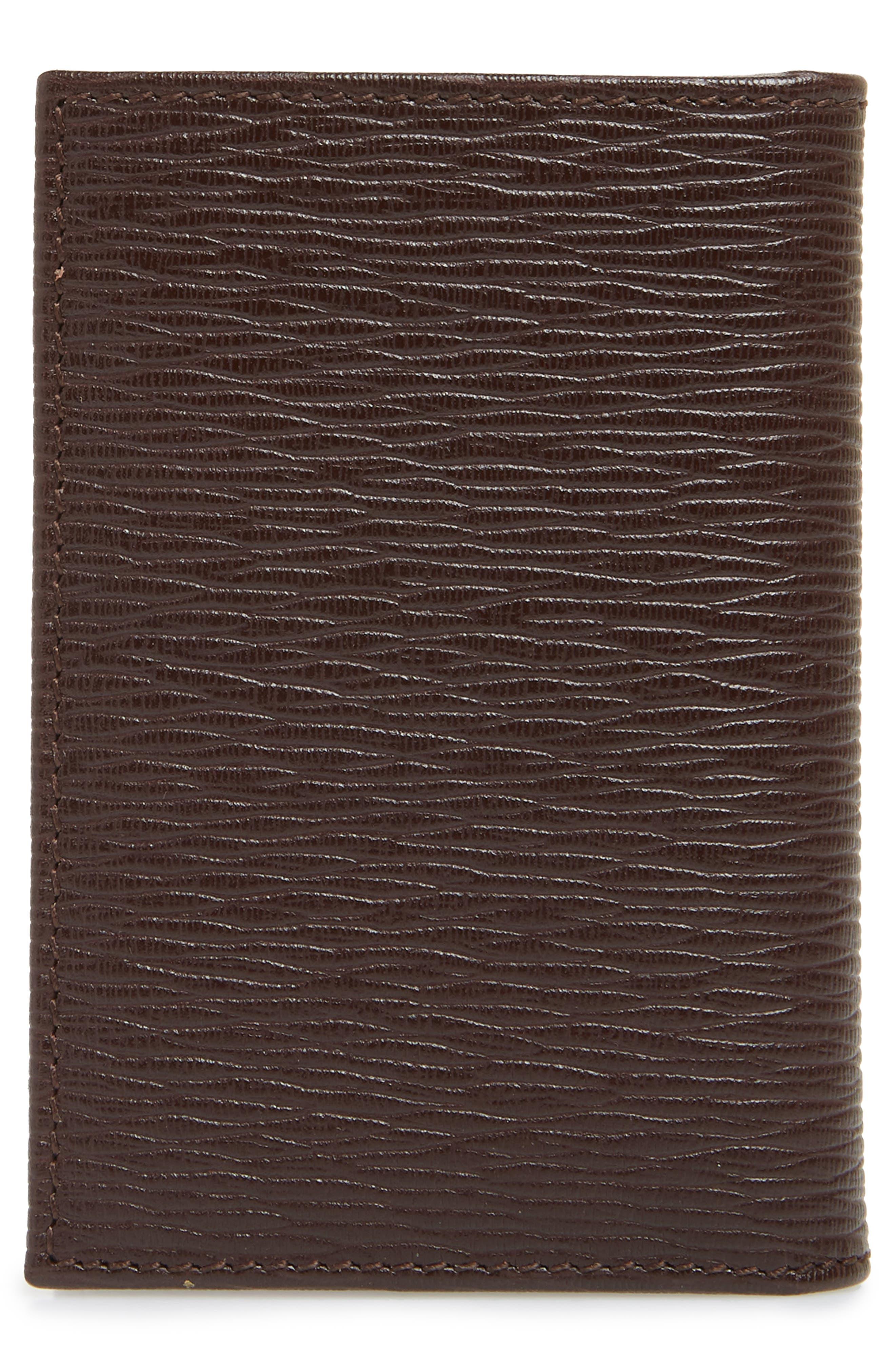 SALVATORE FERRAGAMO, Revival Leather Card Case, Alternate thumbnail 2, color, TOBACCO