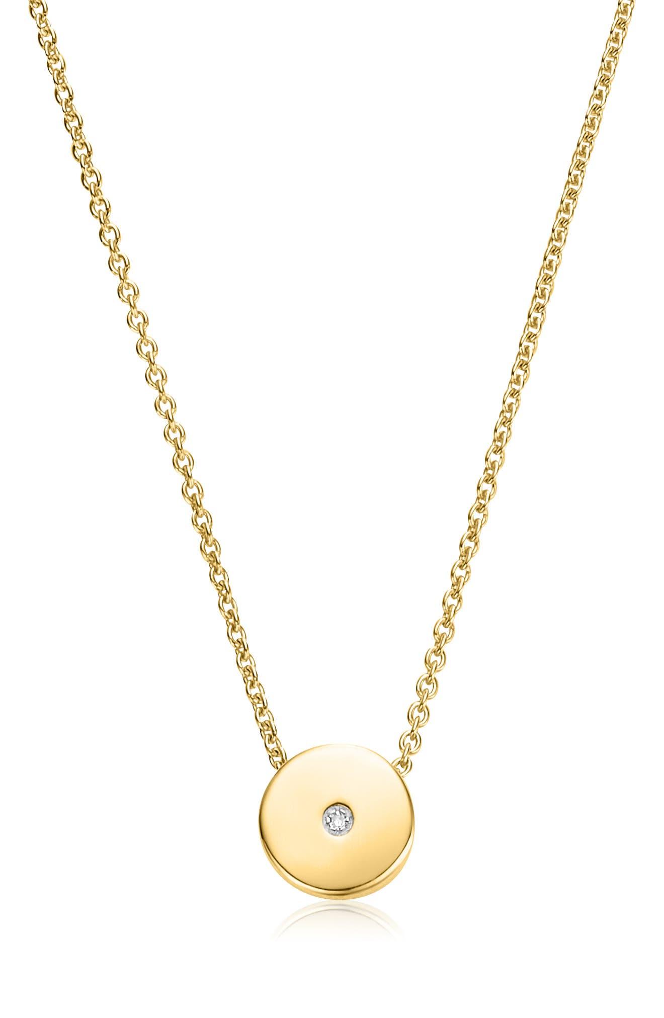 MONICA VINADER, Linear Solo Diamond Pendant Necklace, Main thumbnail 1, color, GOLD/ DIAMOND