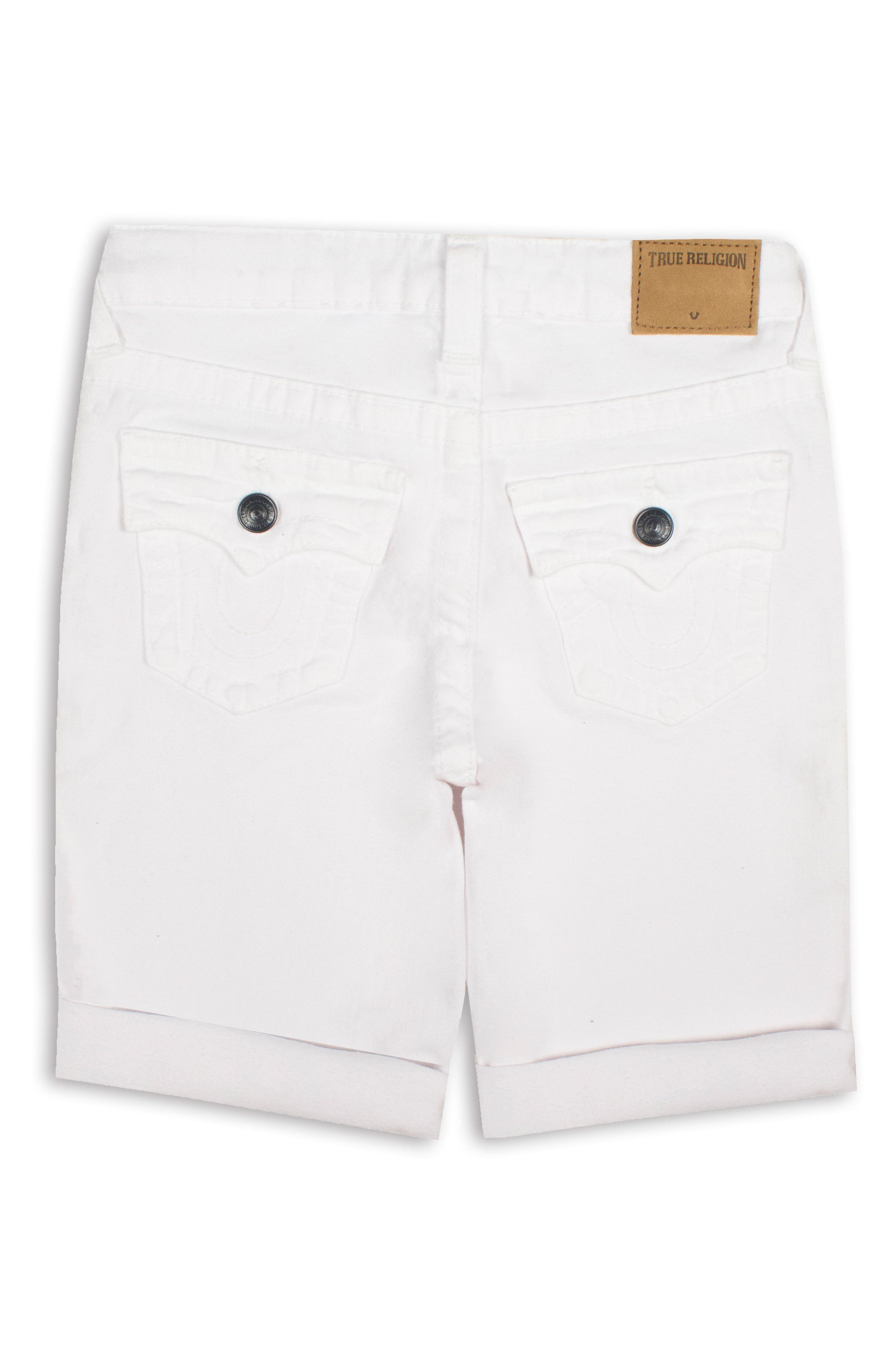 Boys True Religion Brand Jeans Geno Denim Shorts Size 16  White