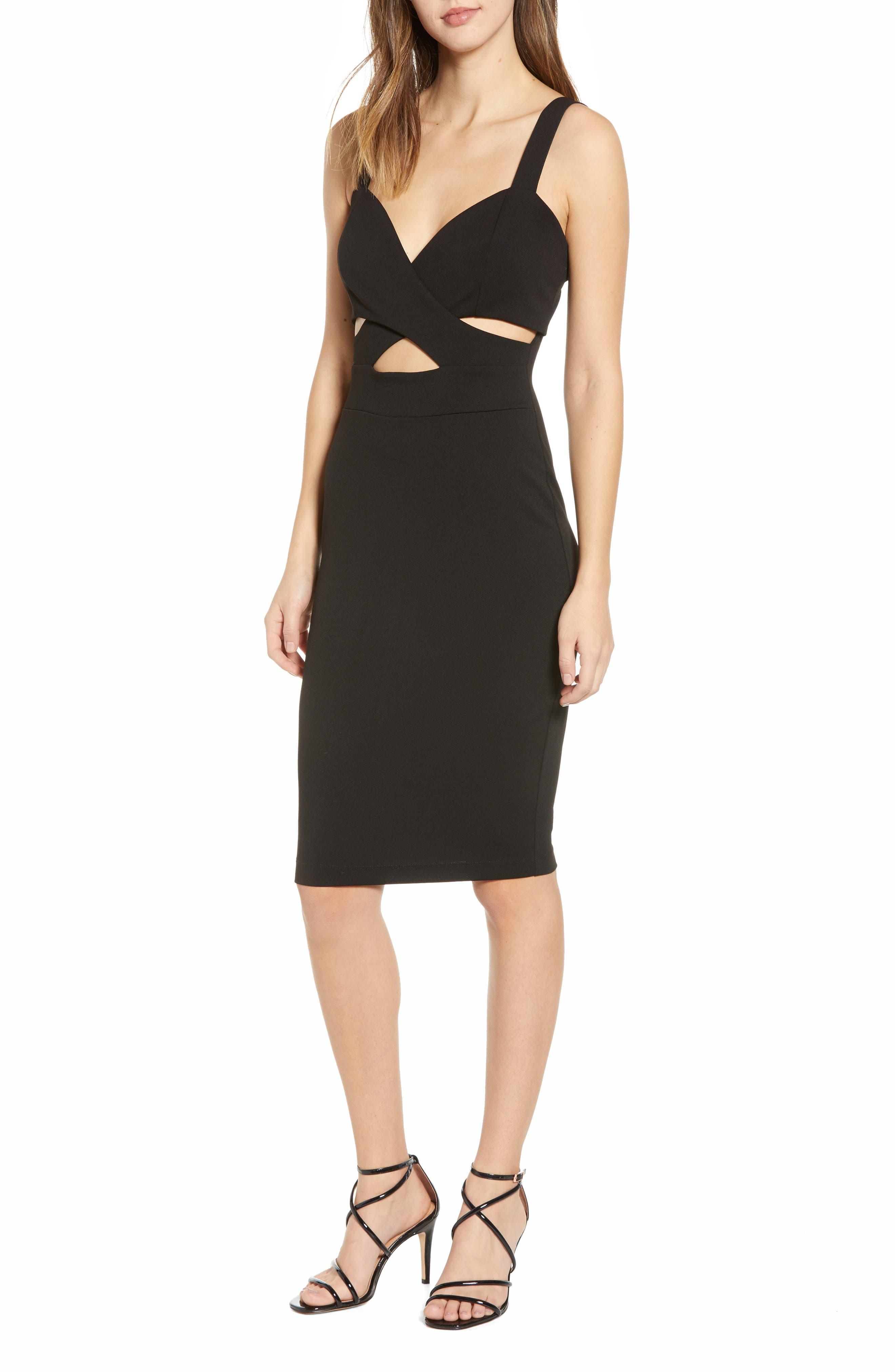 Love, Nickie Lew Cutout Sheath Dress, Black