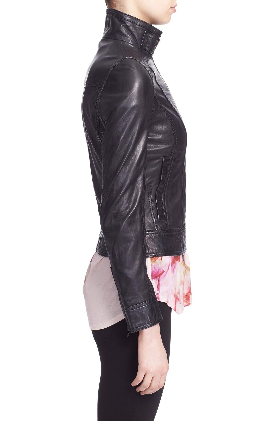 TED BAKER LONDON, 'Roark' Stand Collar Leather Jacket, Alternate thumbnail 5, color, 001