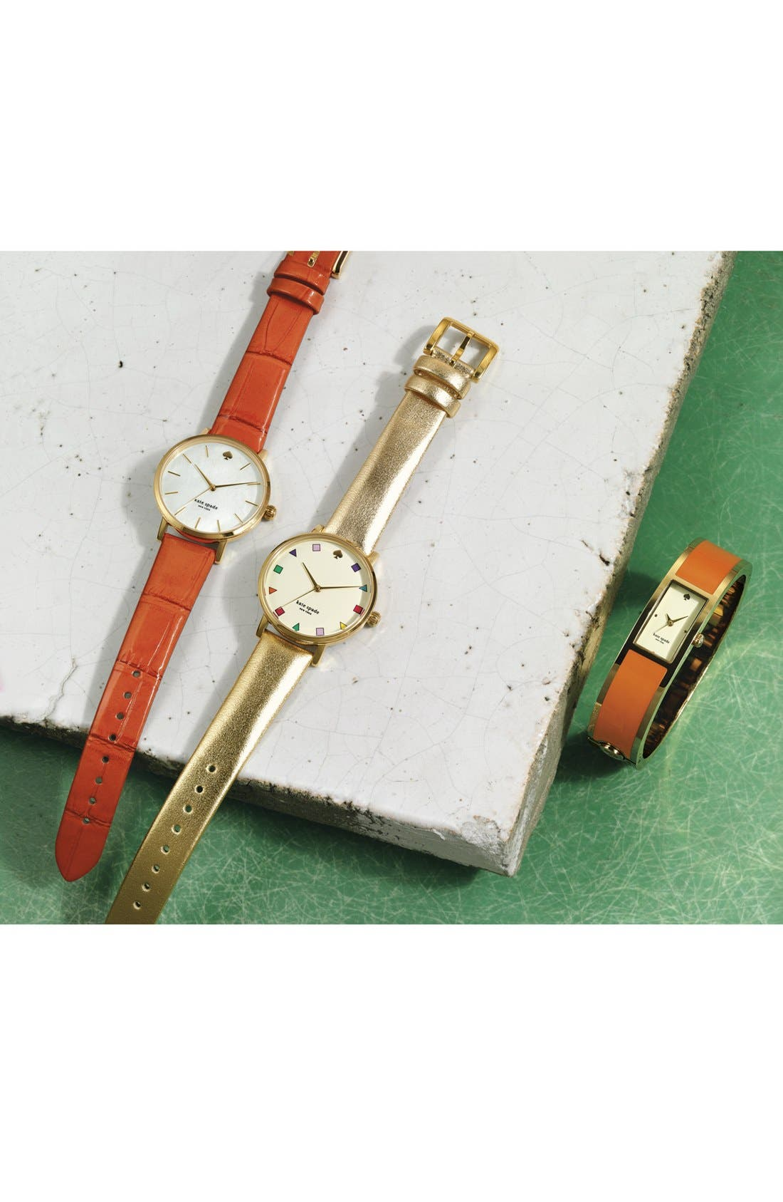 KATE SPADE NEW YORK, 'metro patchwork' leather strap watch, 34mm, Alternate thumbnail 3, color, 710