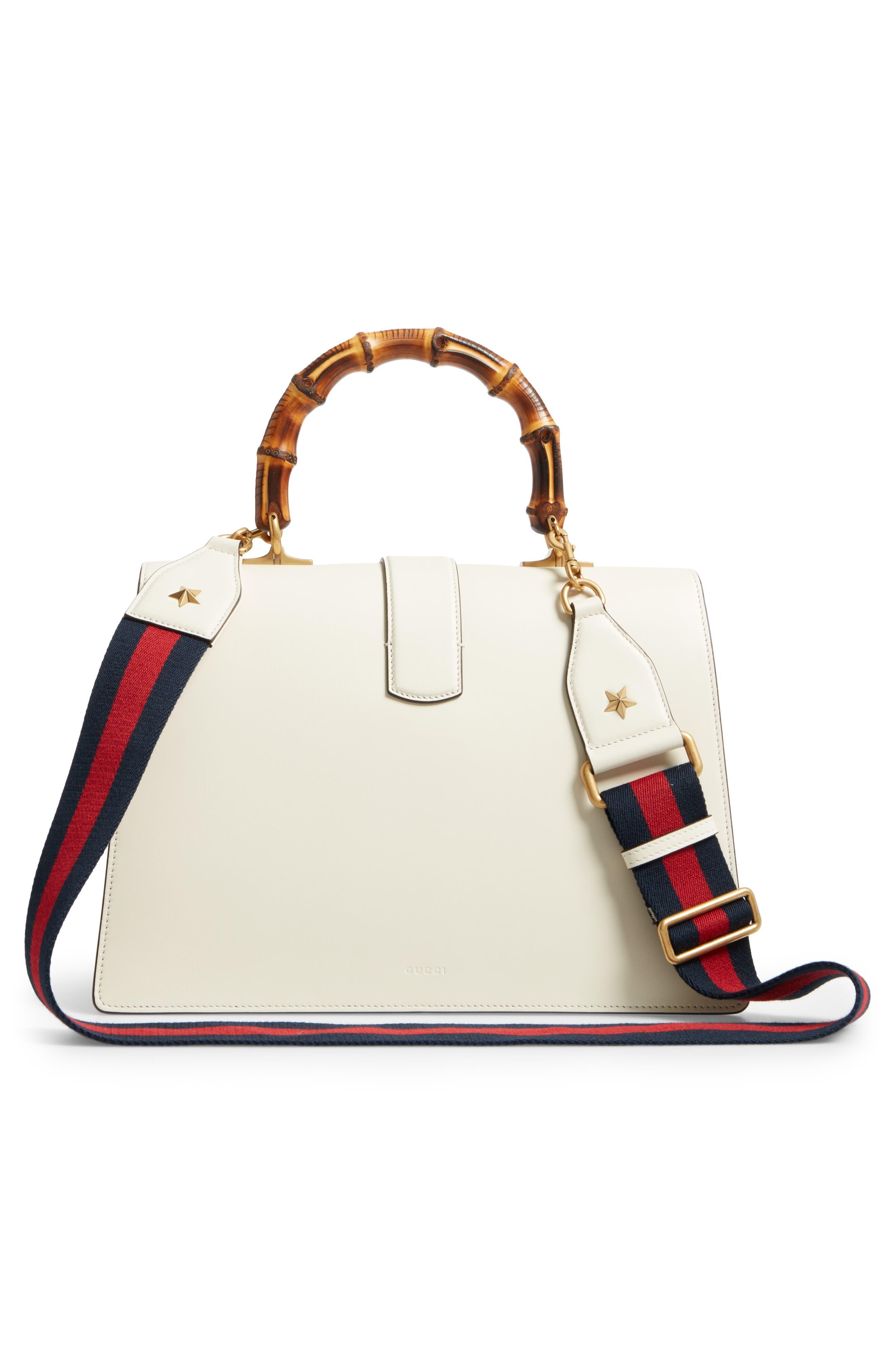 GUCCI, Large Dionysus Top Handle Leather Shoulder Bag, Alternate thumbnail 3, color, MYSTIC WHITE/ BLUE/ RED