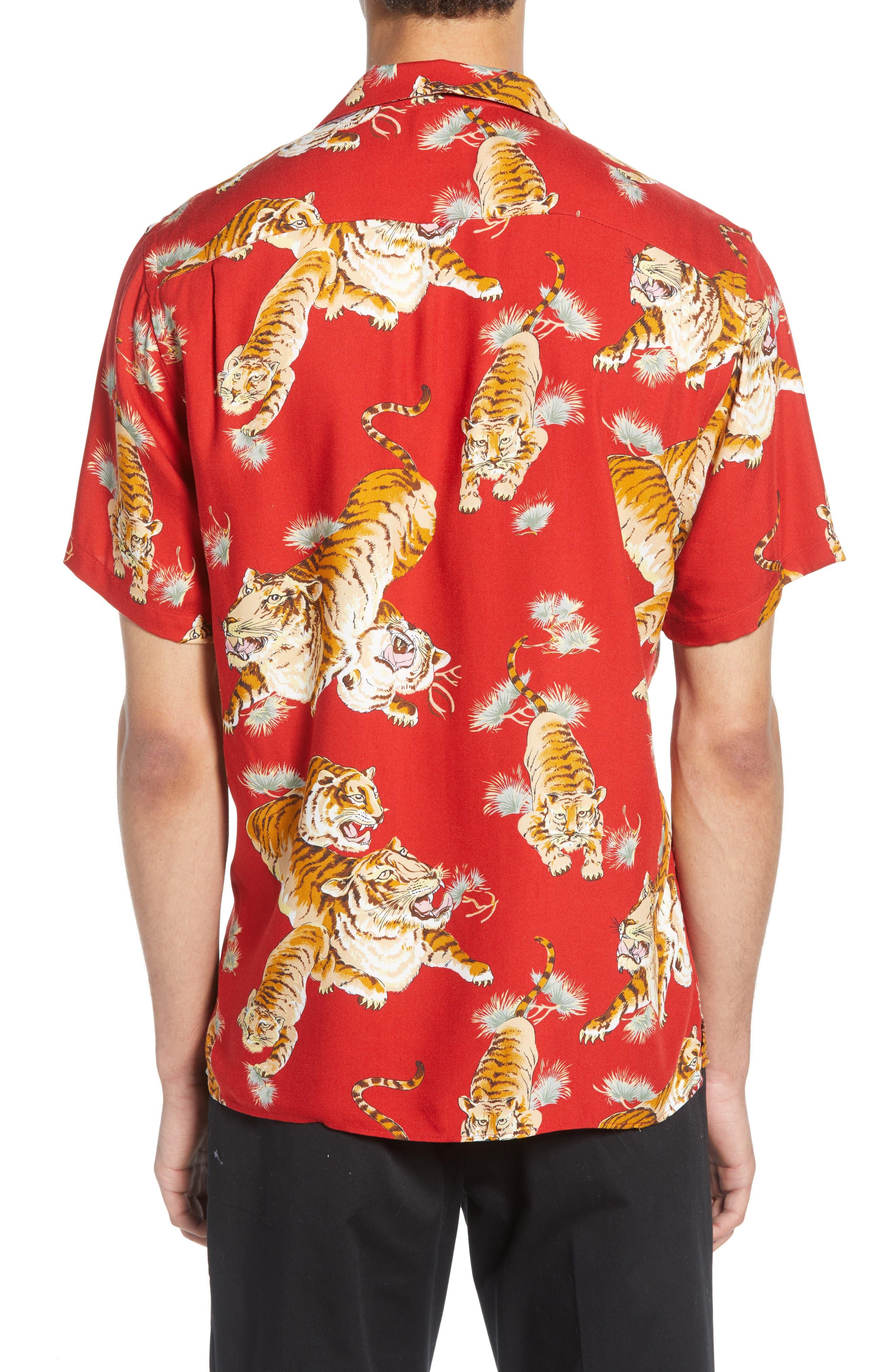 THE KOOPLES, Tiger Print Short Sleeve Camp Shirt, Alternate thumbnail 3, color, 250