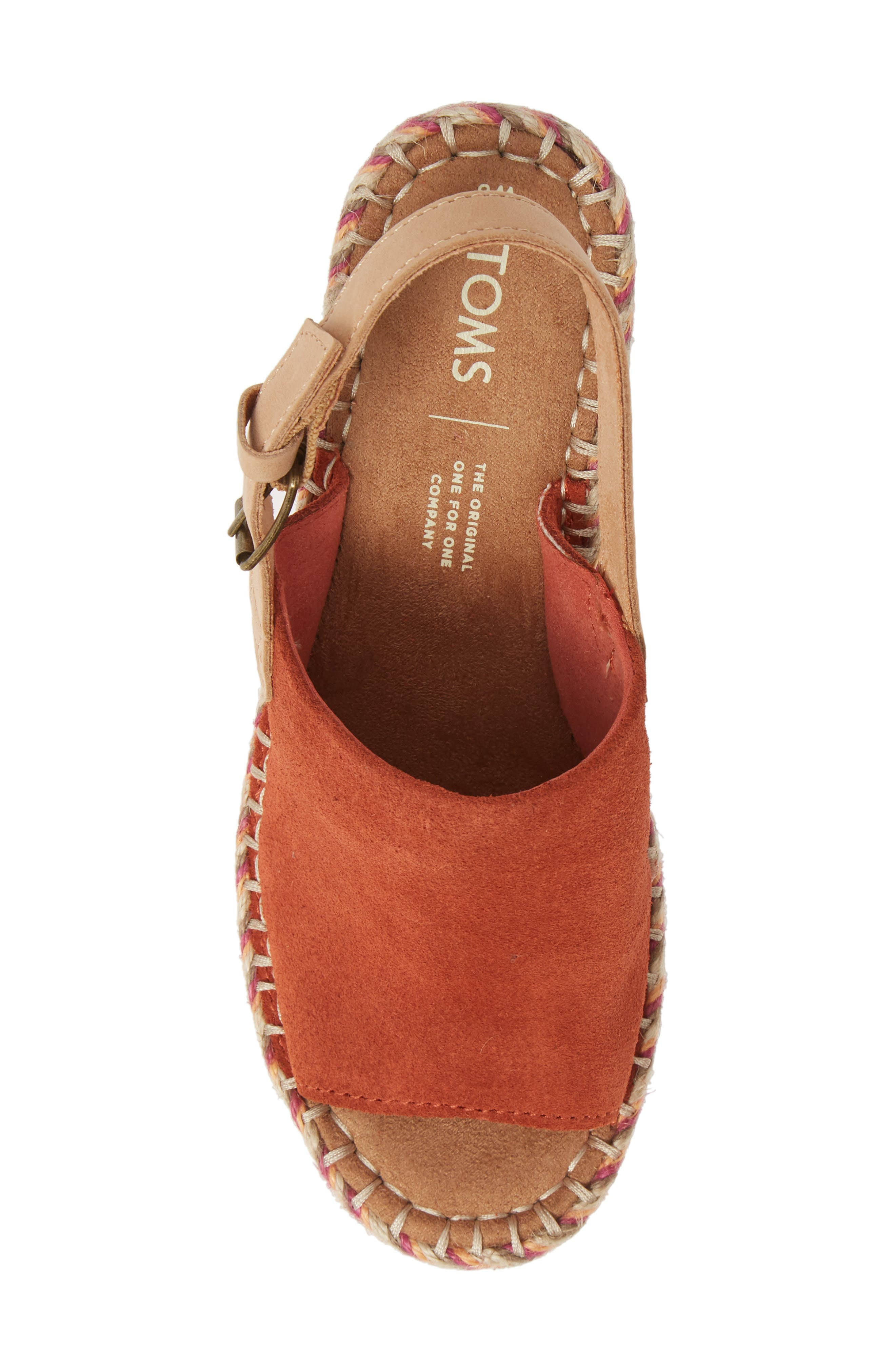 TOMS, Monica Slingback Wedge, Alternate thumbnail 5, color, SPICE SUEDE