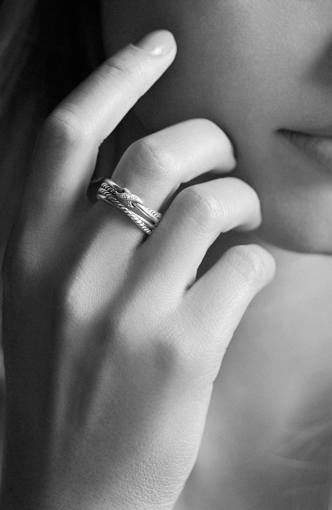 DAVID YURMAN, 'X Crossover' Ring with Diamonds, Alternate thumbnail 8, color, DIAMOND