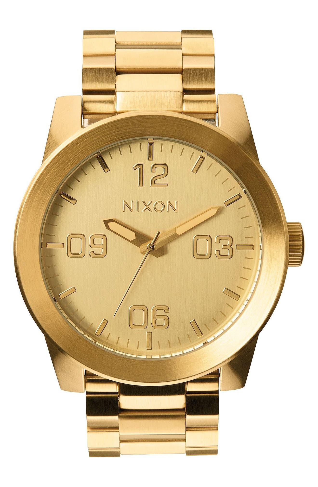 NIXON The Corporal Bracelet Watch, 48mm, Main, color, GOLD