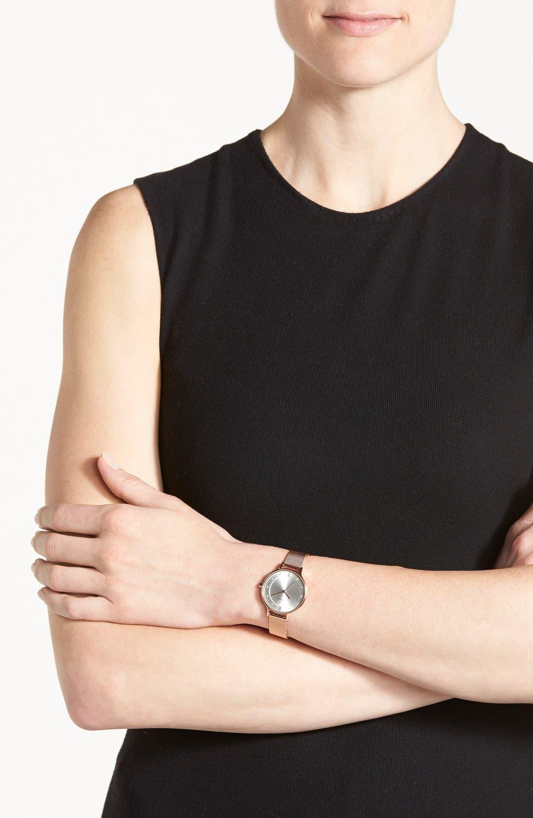 SKAGEN, 'Anita' Crystal Index Mesh Strap Watch, 30mm, Alternate thumbnail 3, color, ROSE GOLD