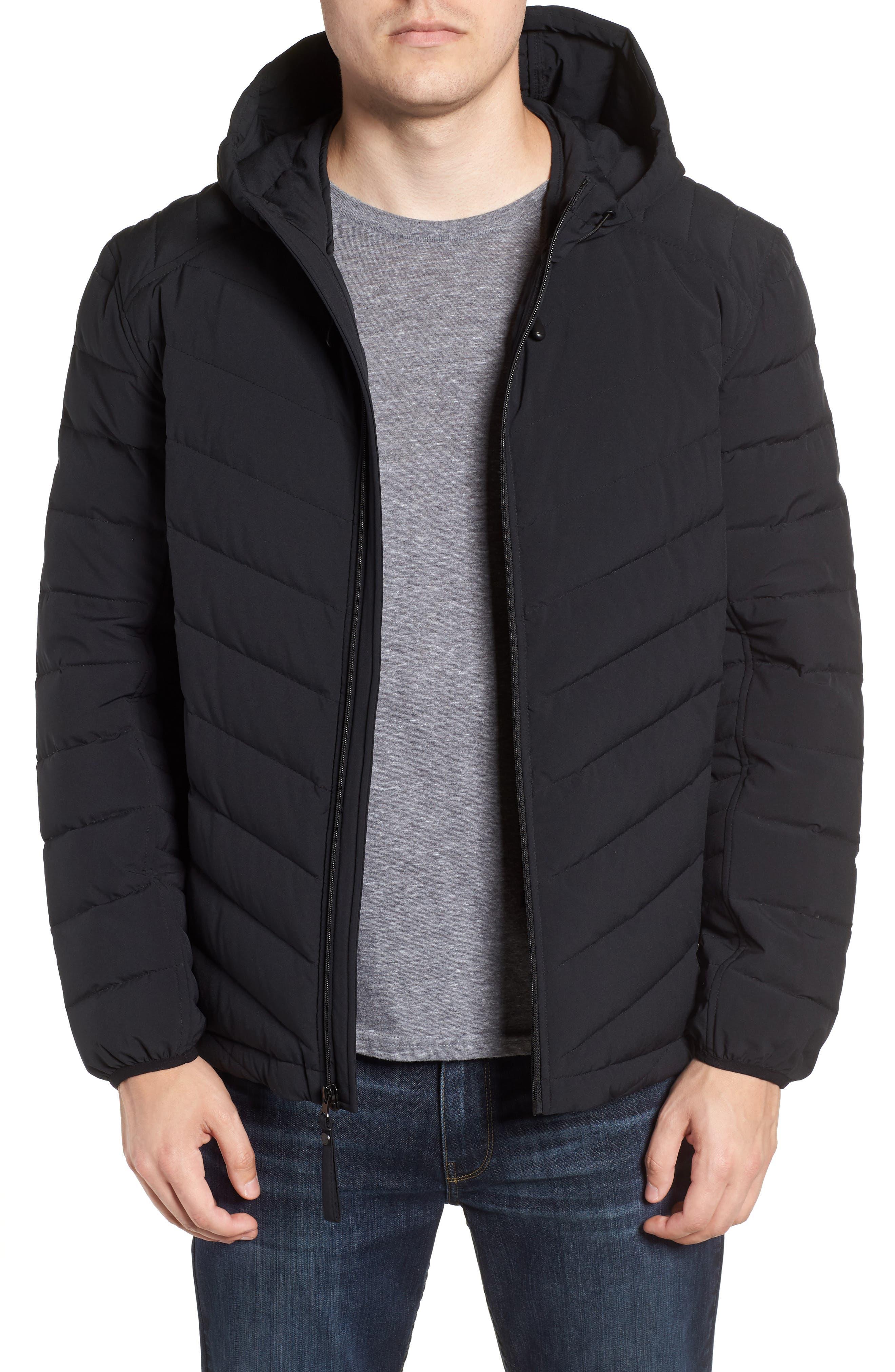 MARC NEW YORK Delavan Down Hooded Jacket, Main, color, BLACK