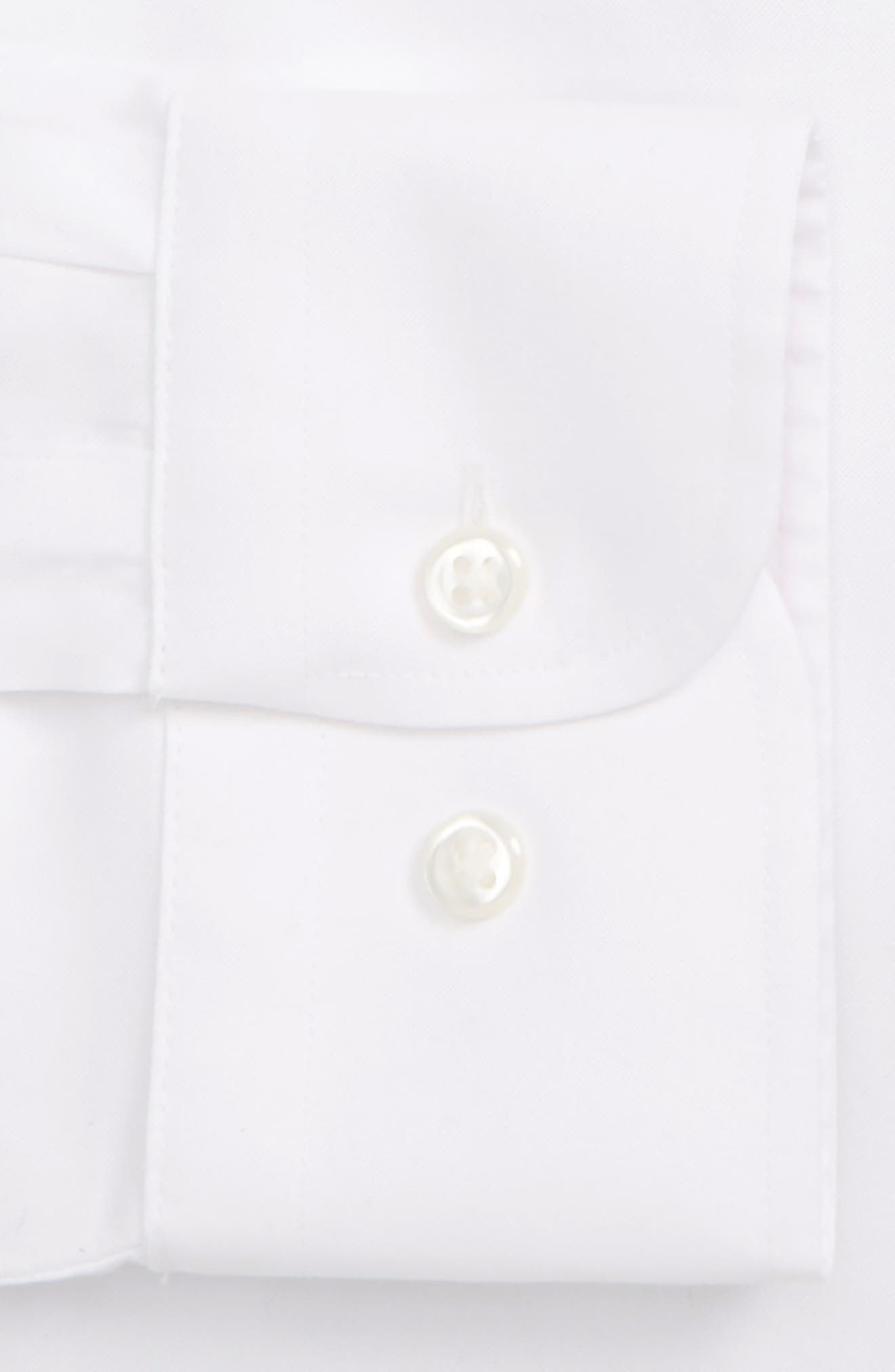 NORDSTROM MEN'S SHOP, Smartcare<sup>™</sup> Trim Fit Solid Dress Shirt, Alternate thumbnail 6, color, WHITE BRILLIANT