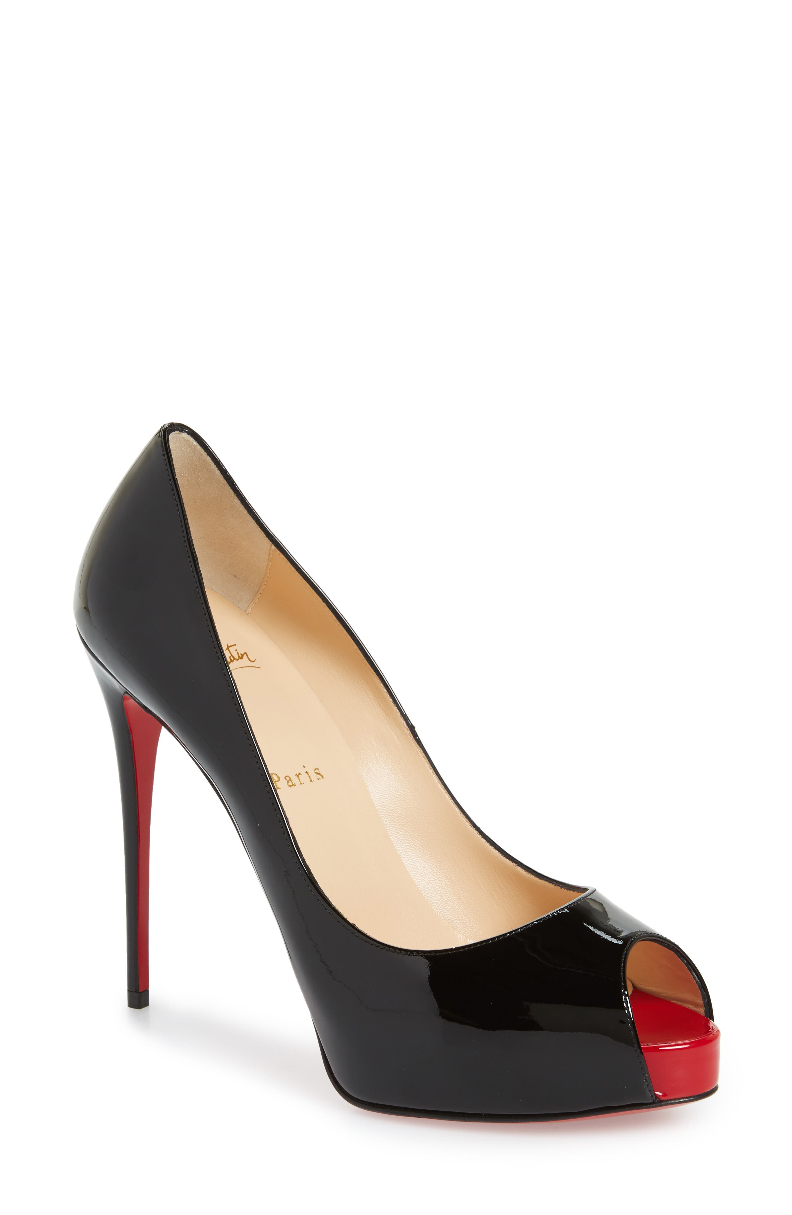 CHRISTIAN LOUBOUTIN, 'Prive' Open Toe Pump, Main thumbnail 1, color, BLACK/ RED
