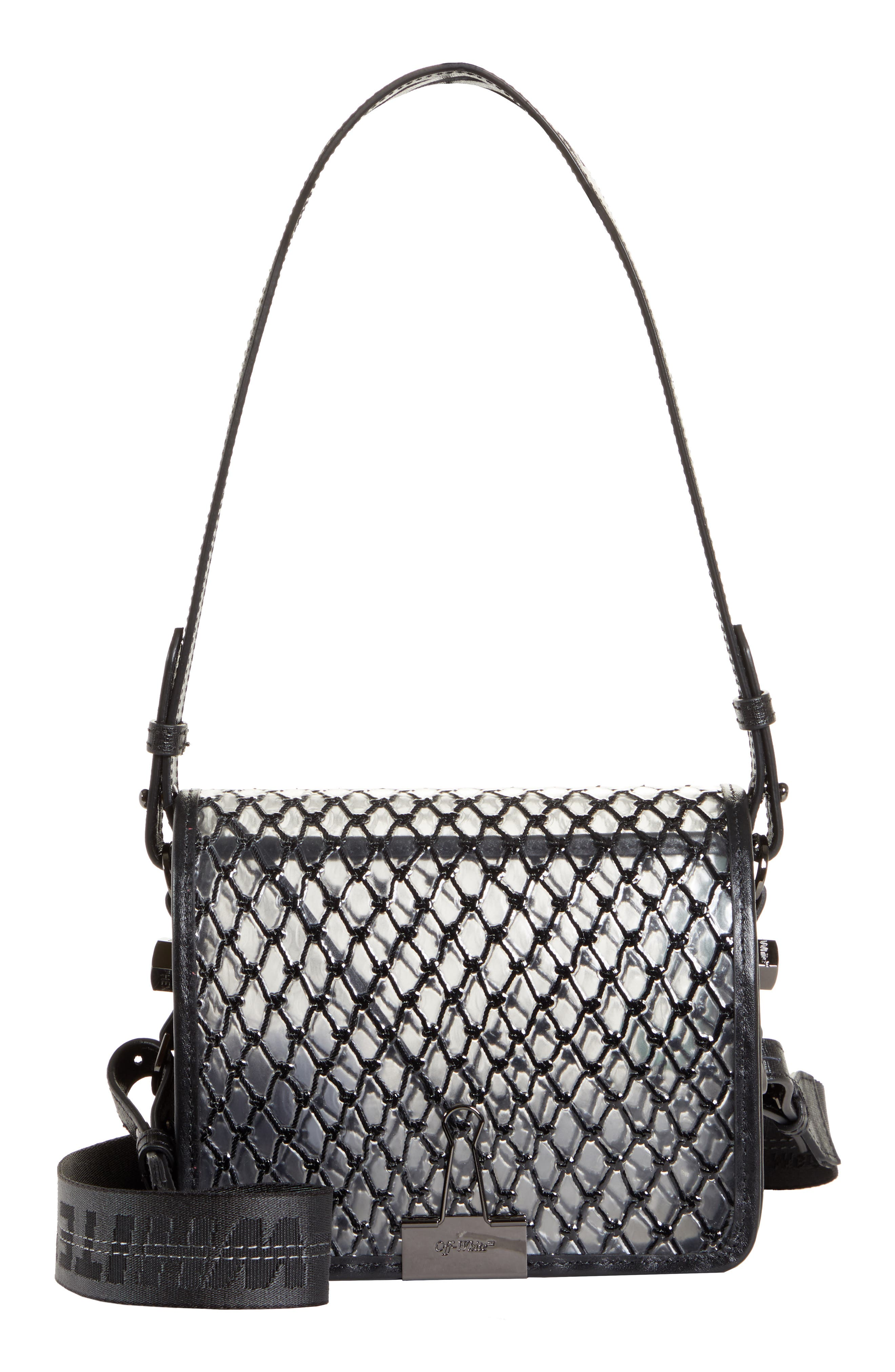 OFF-WHITE, Net PVC Flap Bag, Main thumbnail 1, color, BLACK