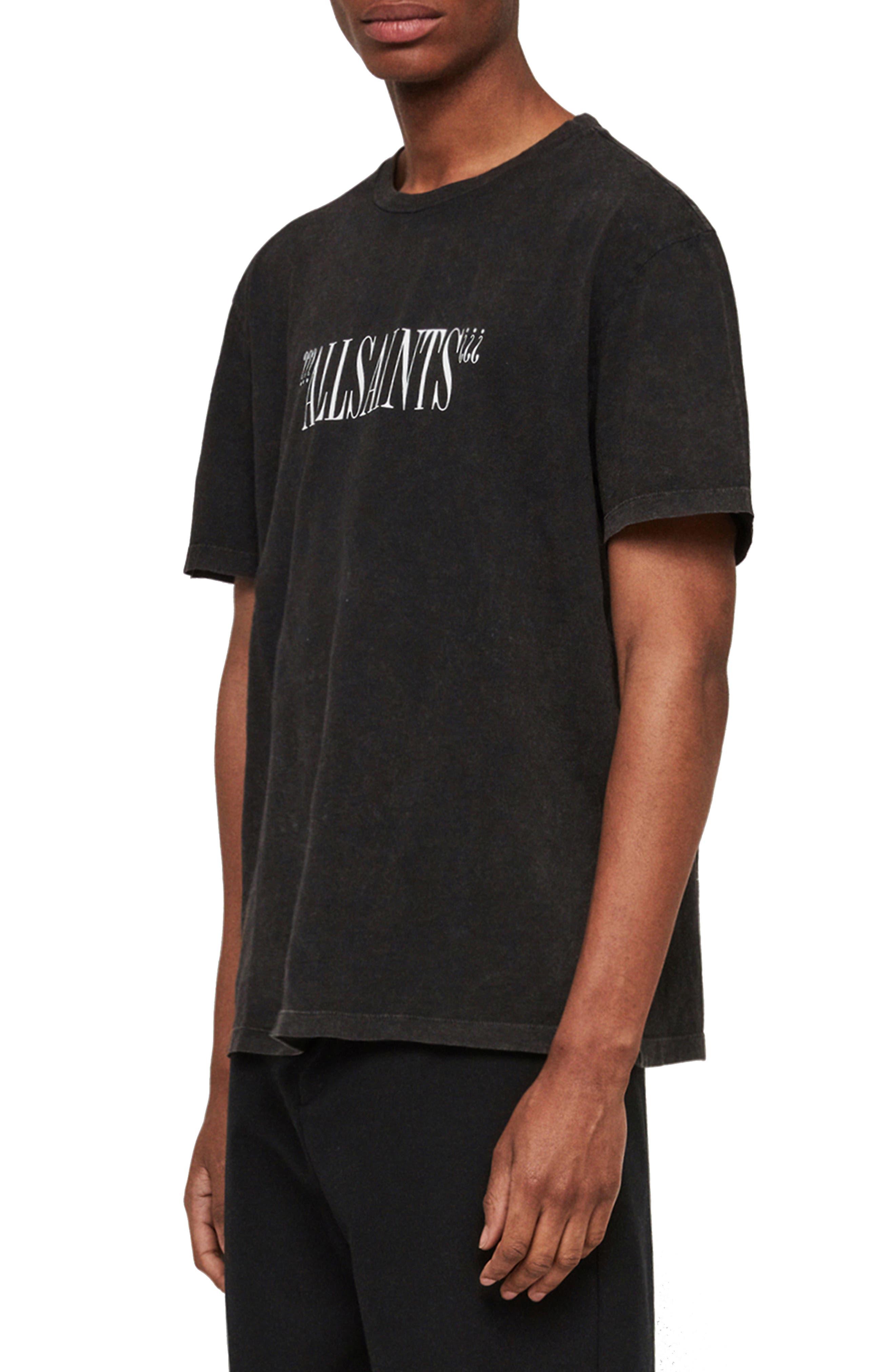 ALLSAINTS, Brackets Classic Fit Crewneck T-Shirt, Alternate thumbnail 3, color, ACID WASHED BLACK